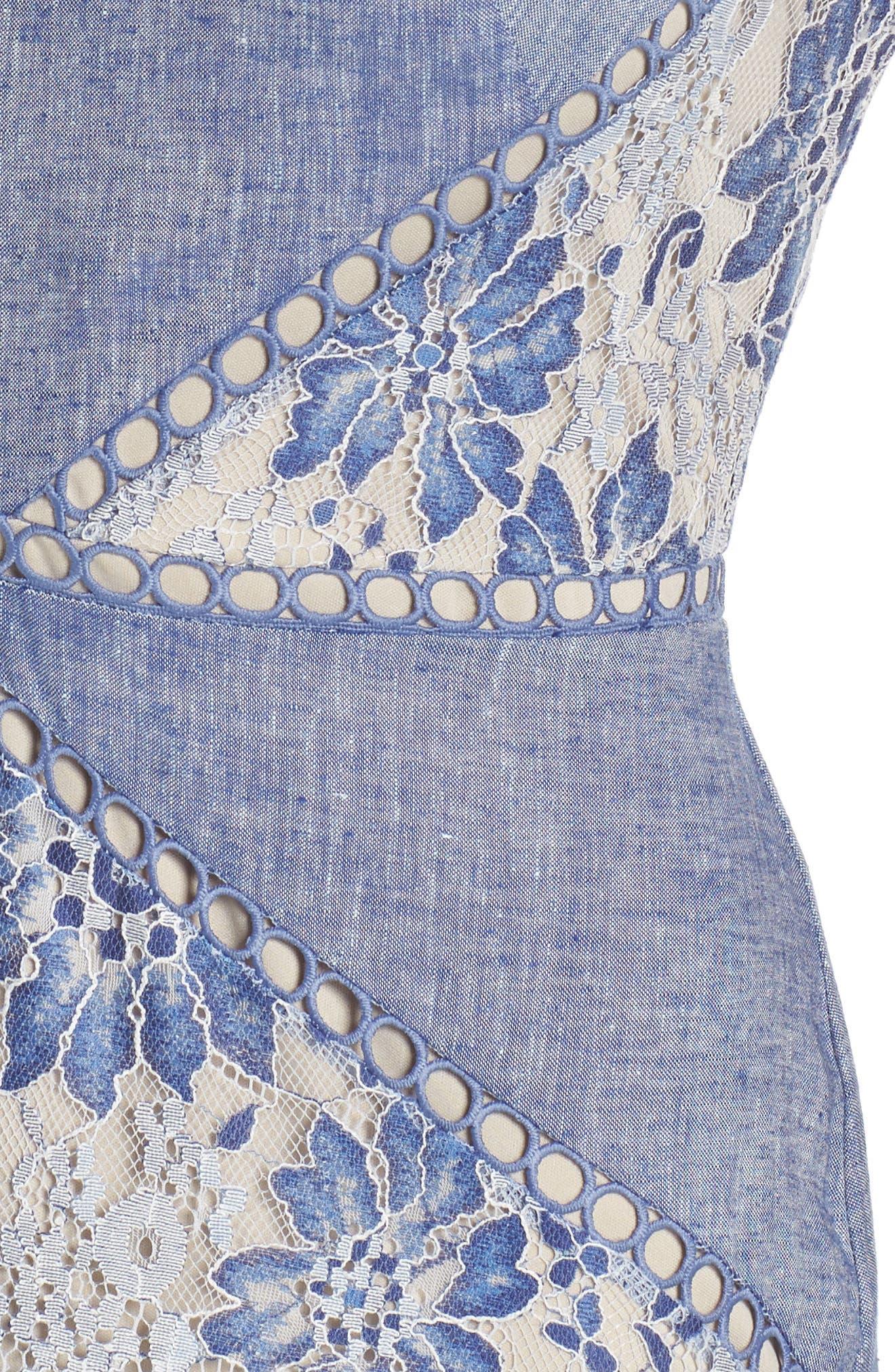 Chambray & Lace Midi Dress,                             Alternate thumbnail 4, color,                             Chambray Nude