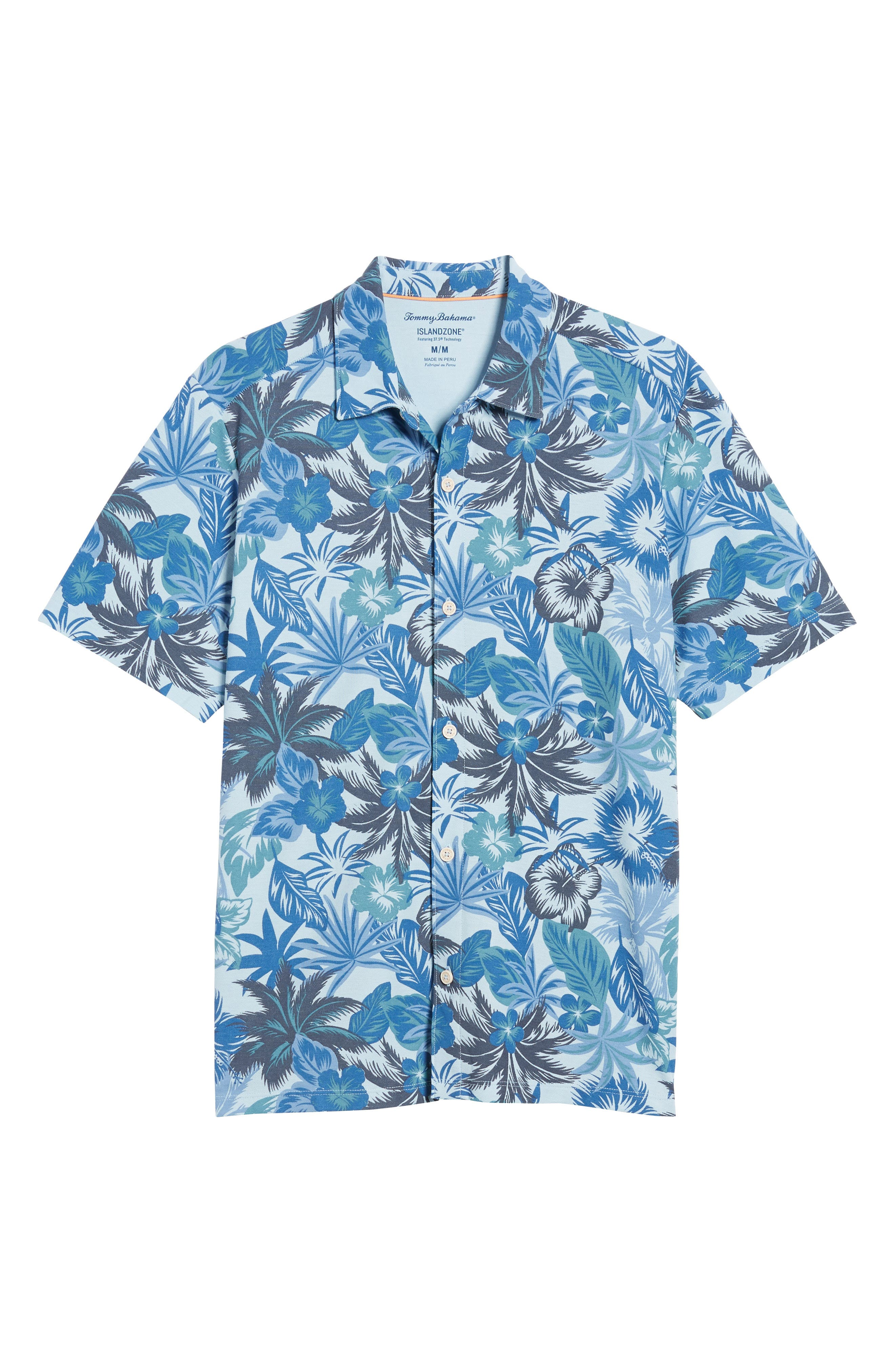 Fuego Floral Camp Shirt,                             Alternate thumbnail 6, color,                             Light Sky