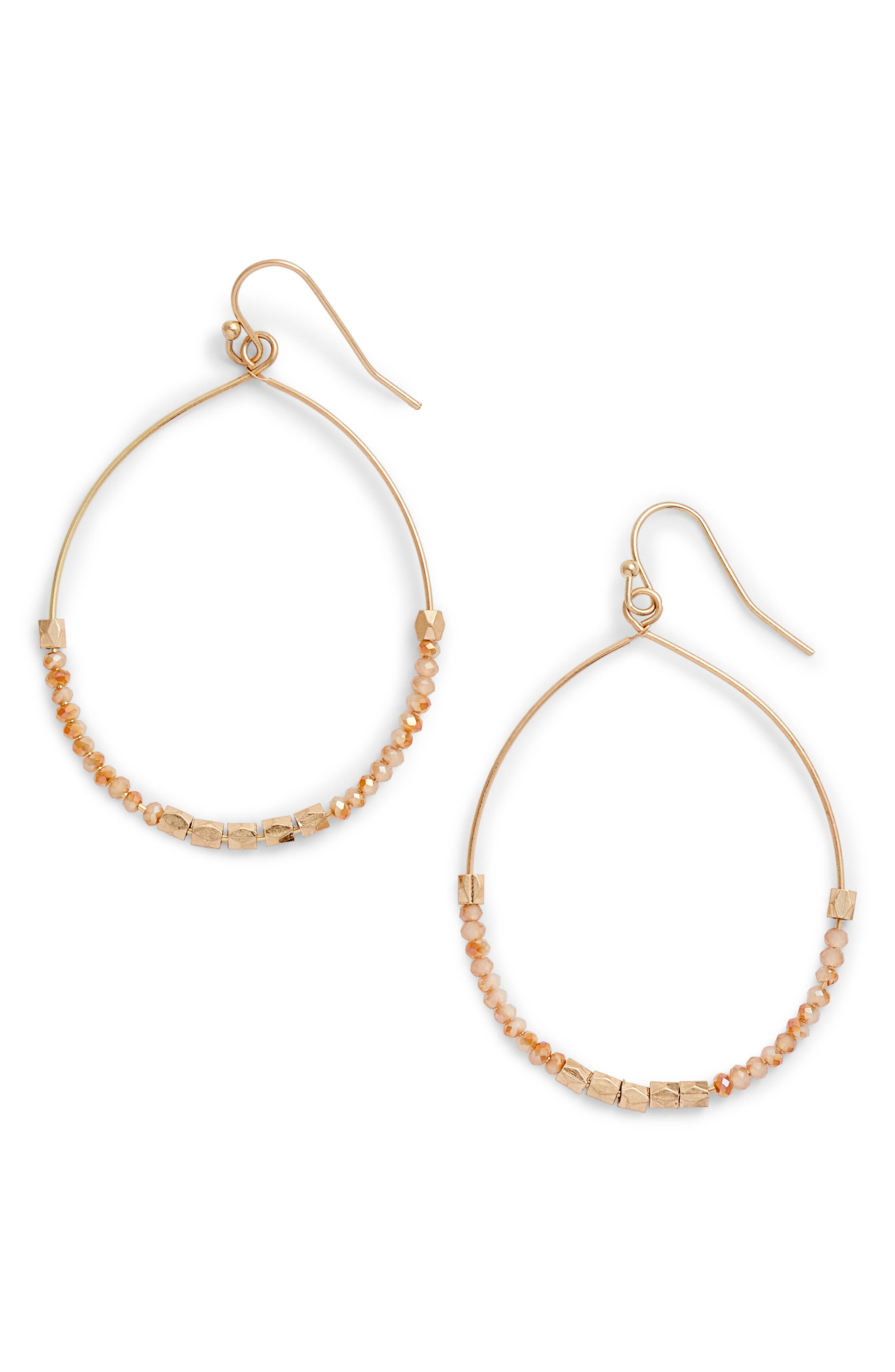 Fine Beaded Wire Hoops,                         Main,                         color, Peach- Gold