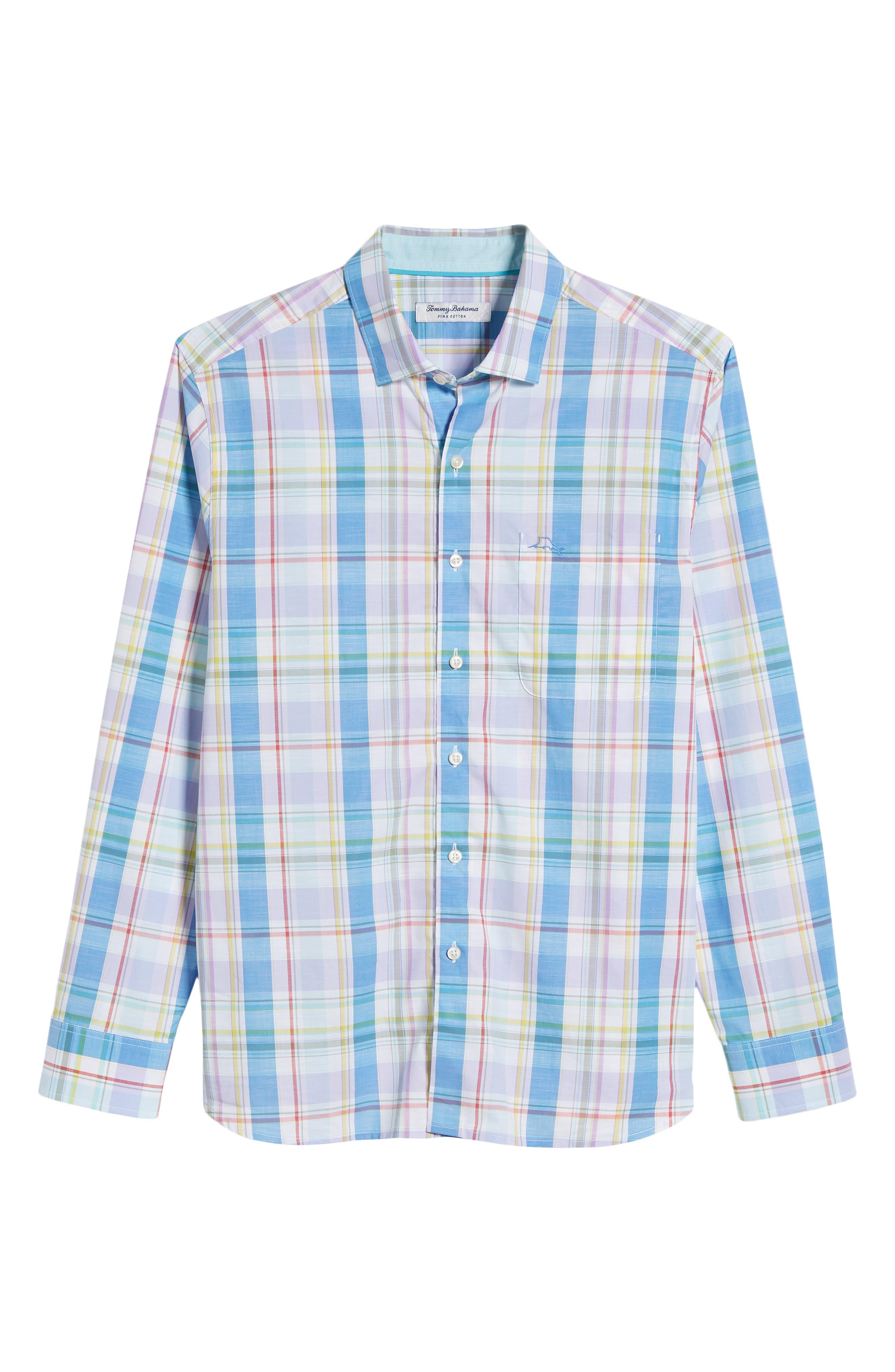 Privada Plaid Sport Shirt,                             Alternate thumbnail 6, color,                             Blue Aster