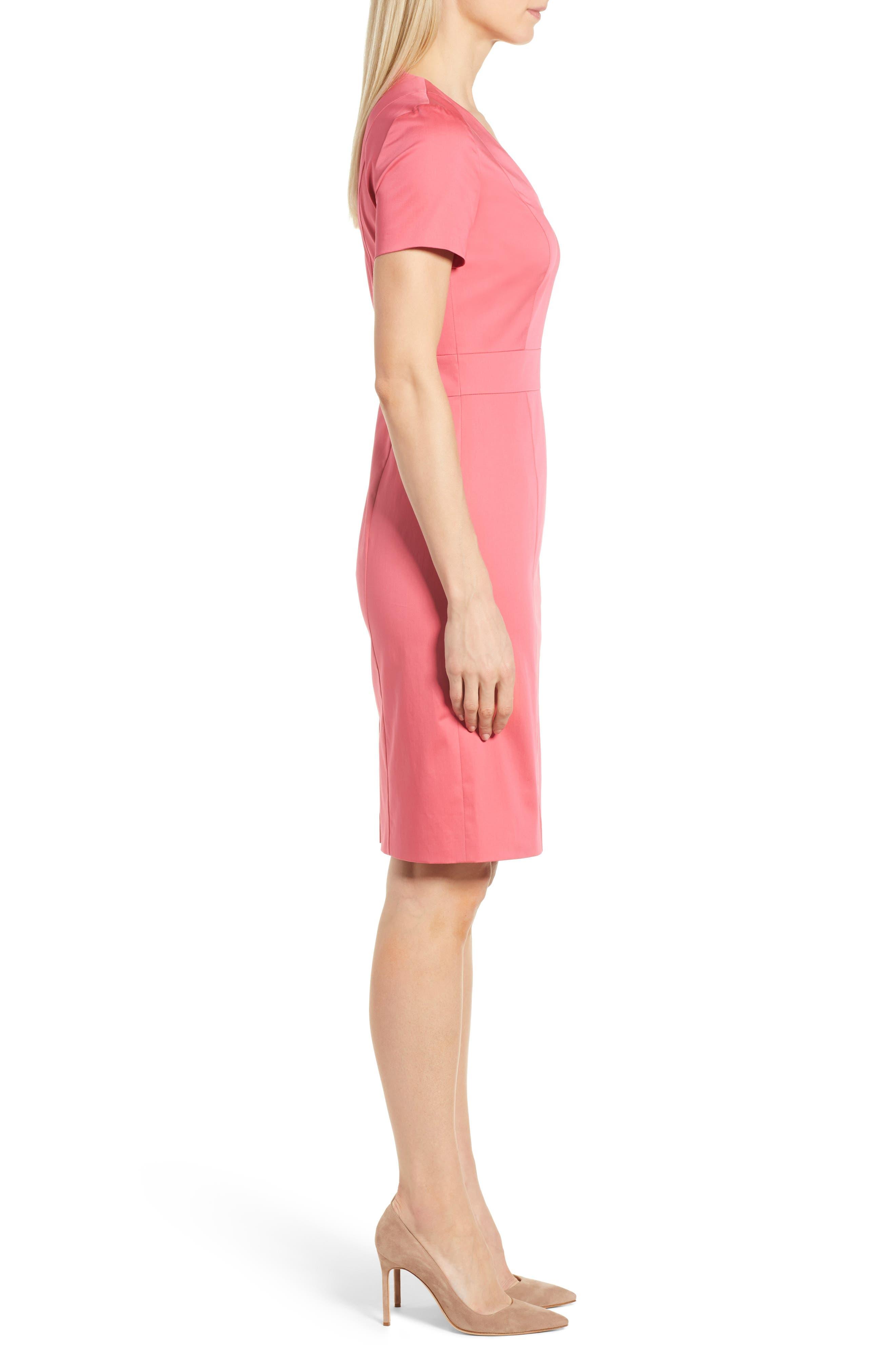 Dasali V-Neck Sheath Dress,                             Alternate thumbnail 3, color,                             Lychee Pink