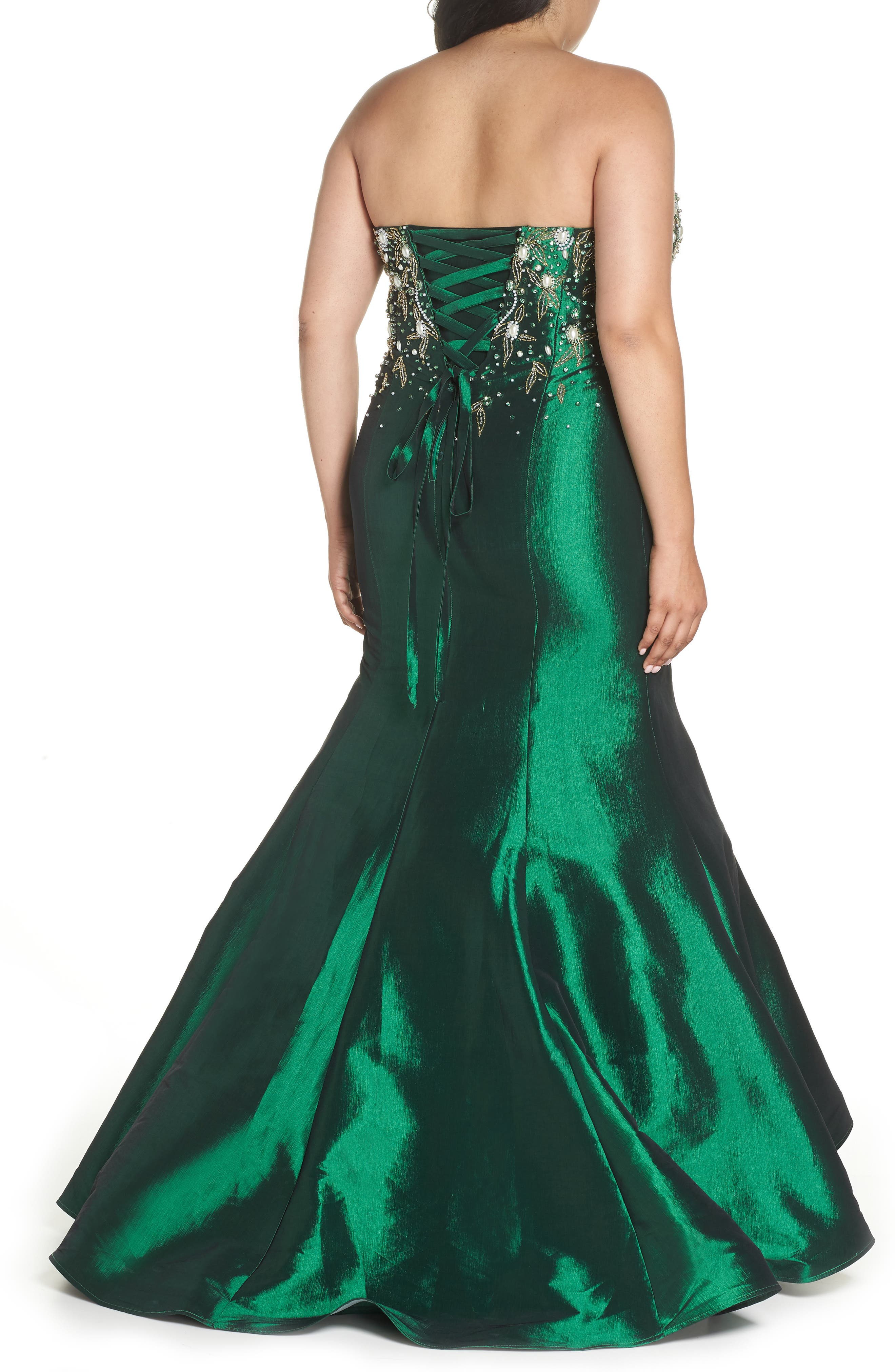 Embellished Bustier Mermaid Gown,                             Alternate thumbnail 2, color,                             Emerald