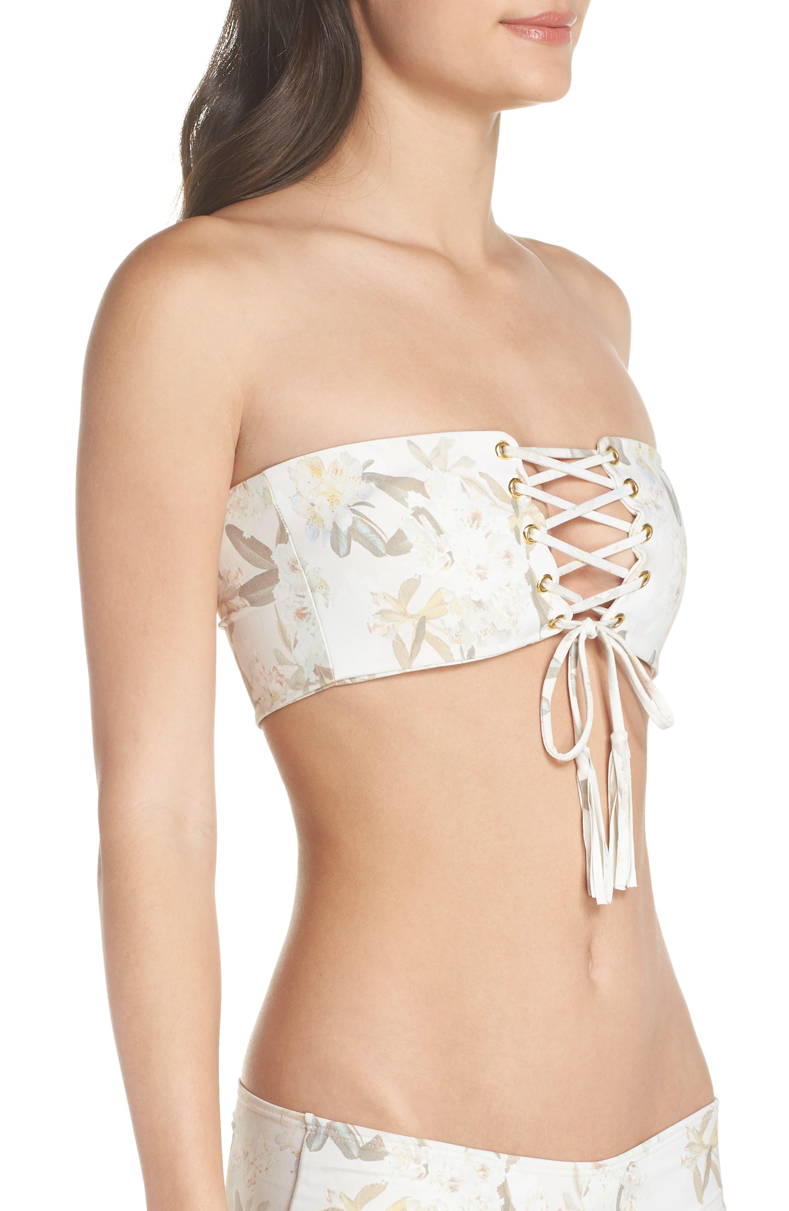Floral Corset Bikini Top,                             Alternate thumbnail 3, color,                             Ete Floral White