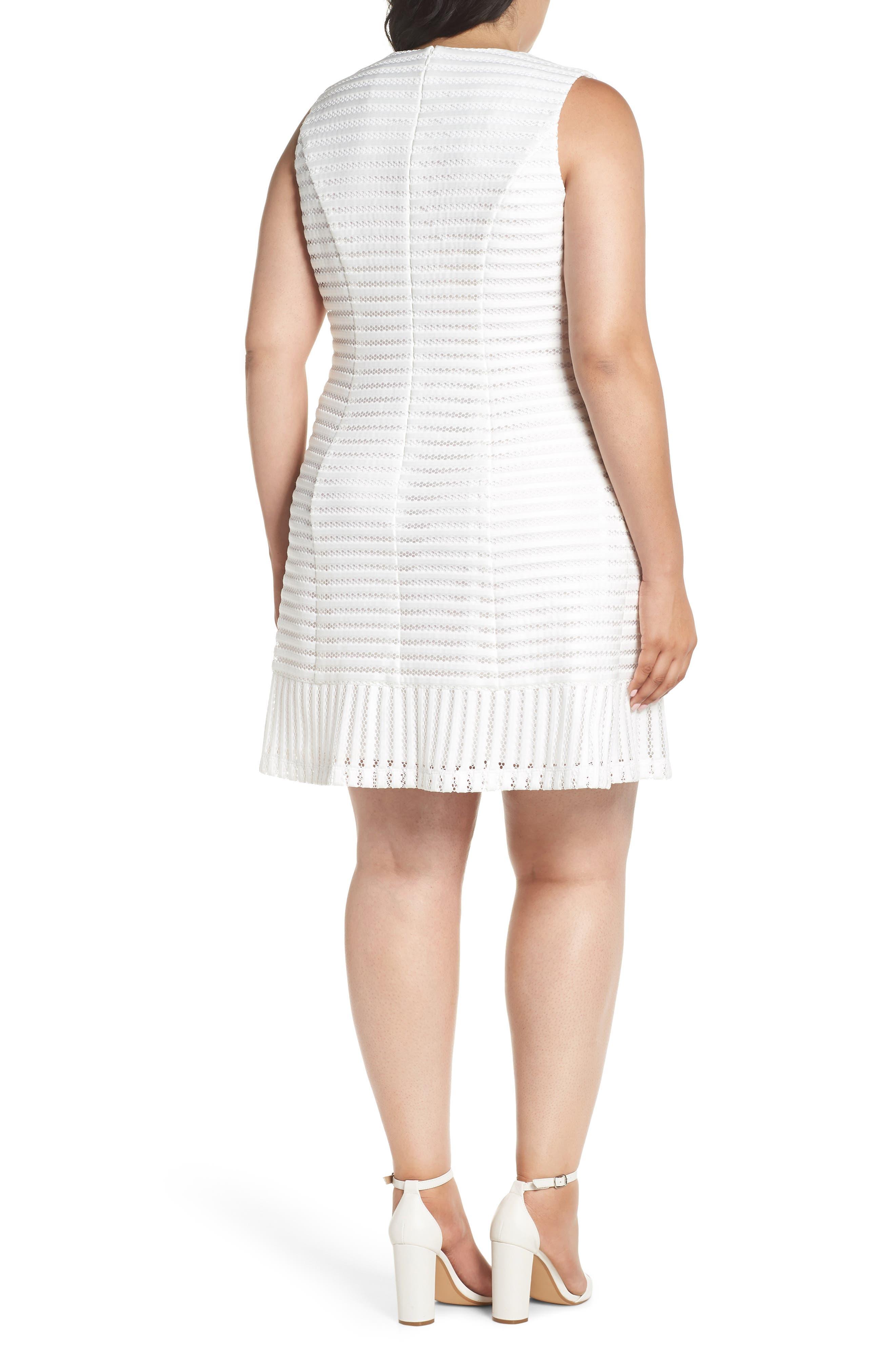 Mesh Stripe Pleated A-Line Dress,                             Alternate thumbnail 2, color,                             Ivory