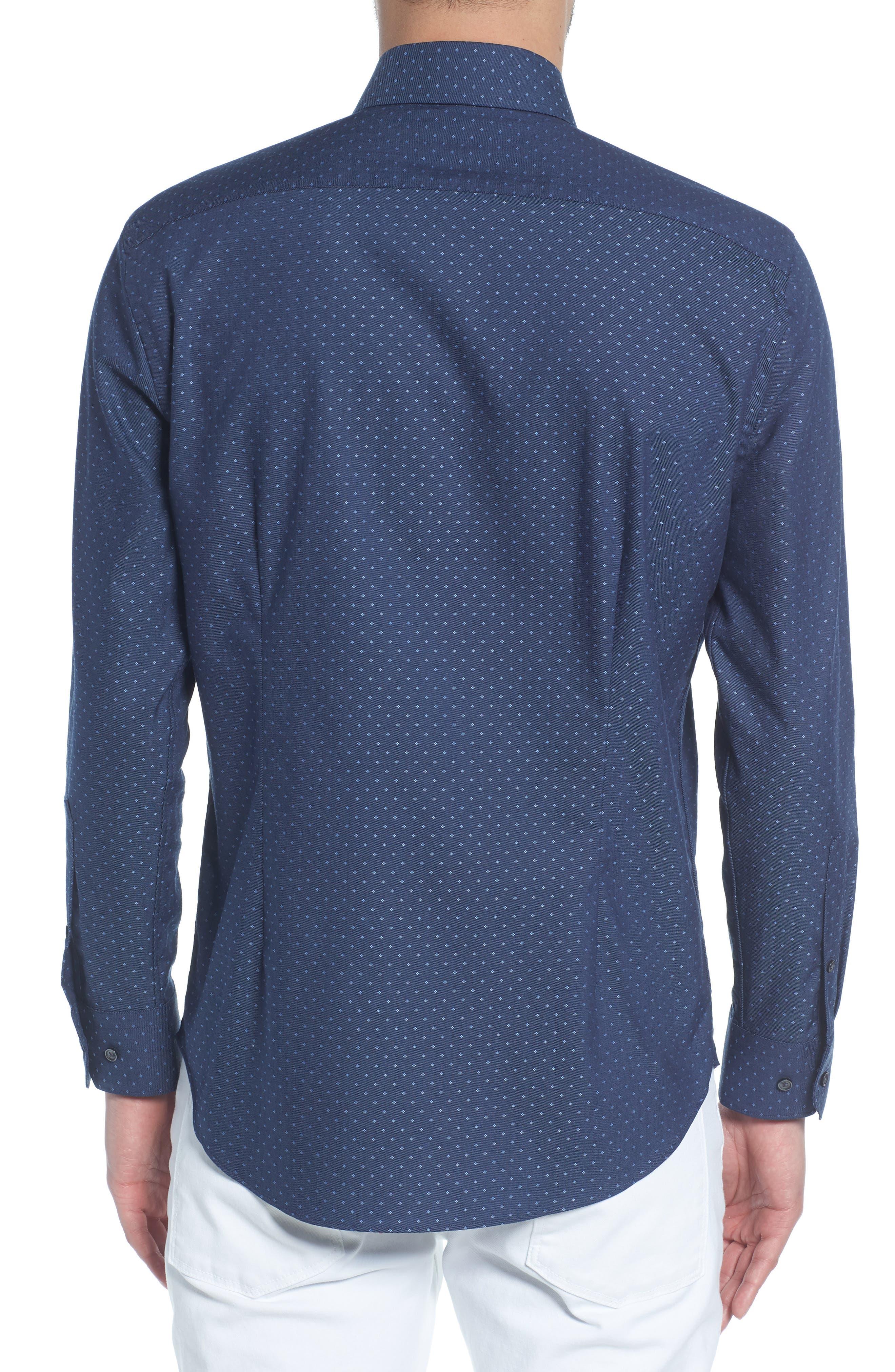 Extra Trim Fit Dot Dress Shirt,                             Alternate thumbnail 3, color,                             Navy Medieval