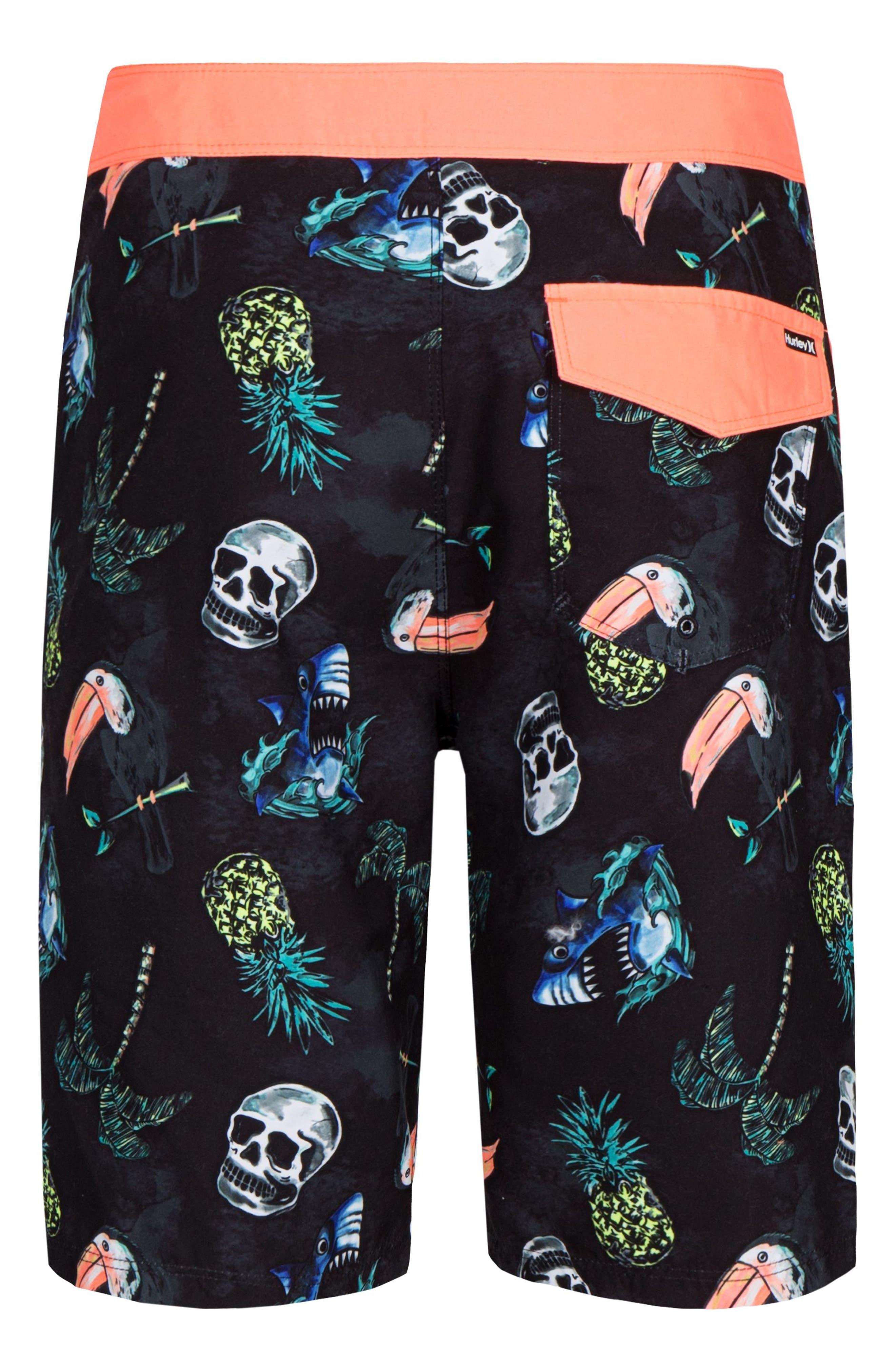 Toucan Print Board Shorts,                             Alternate thumbnail 2, color,                             Black