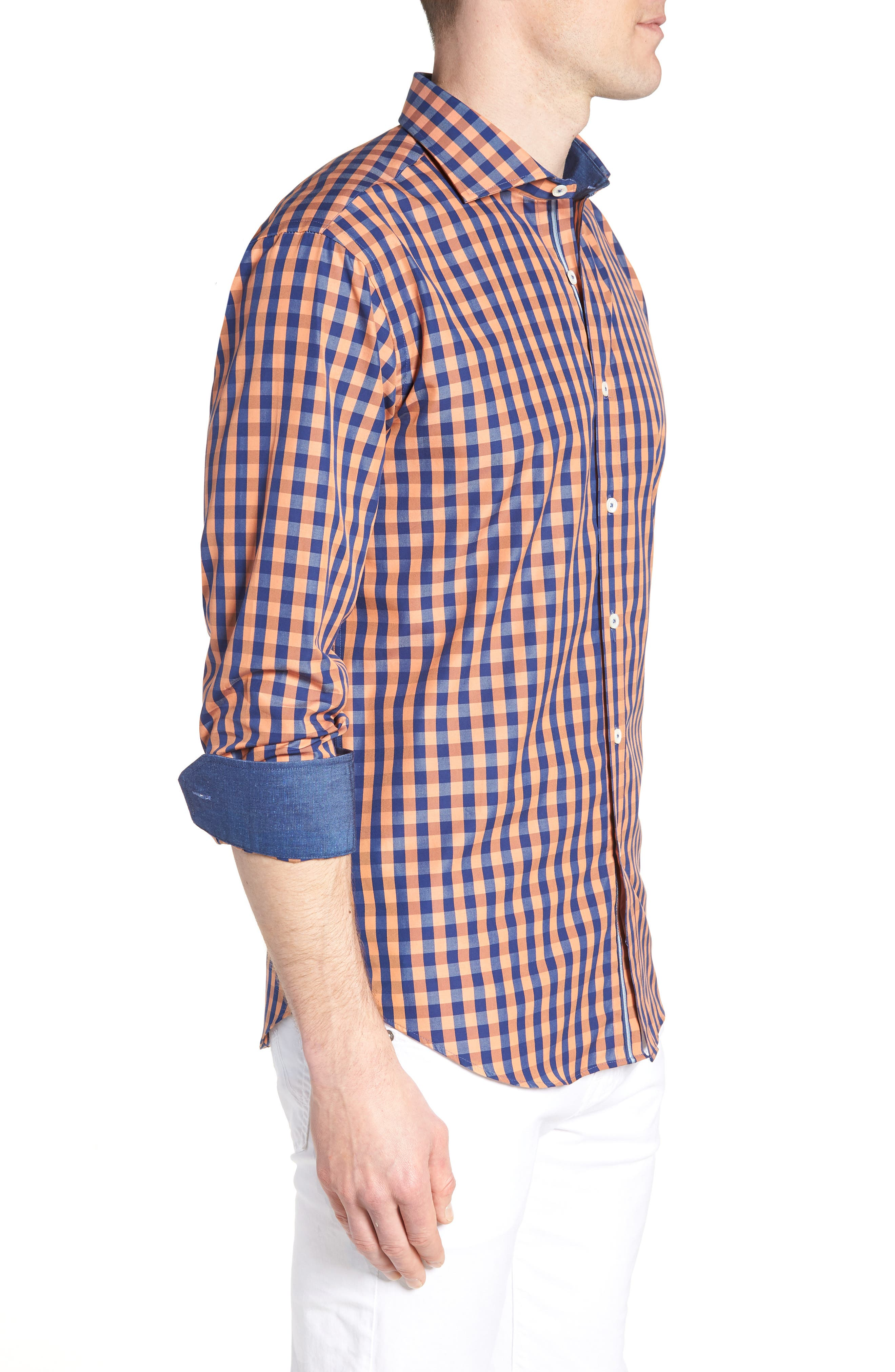 Shaped Fit Check Sport Shirt,                             Alternate thumbnail 4, color,                             Jaffa