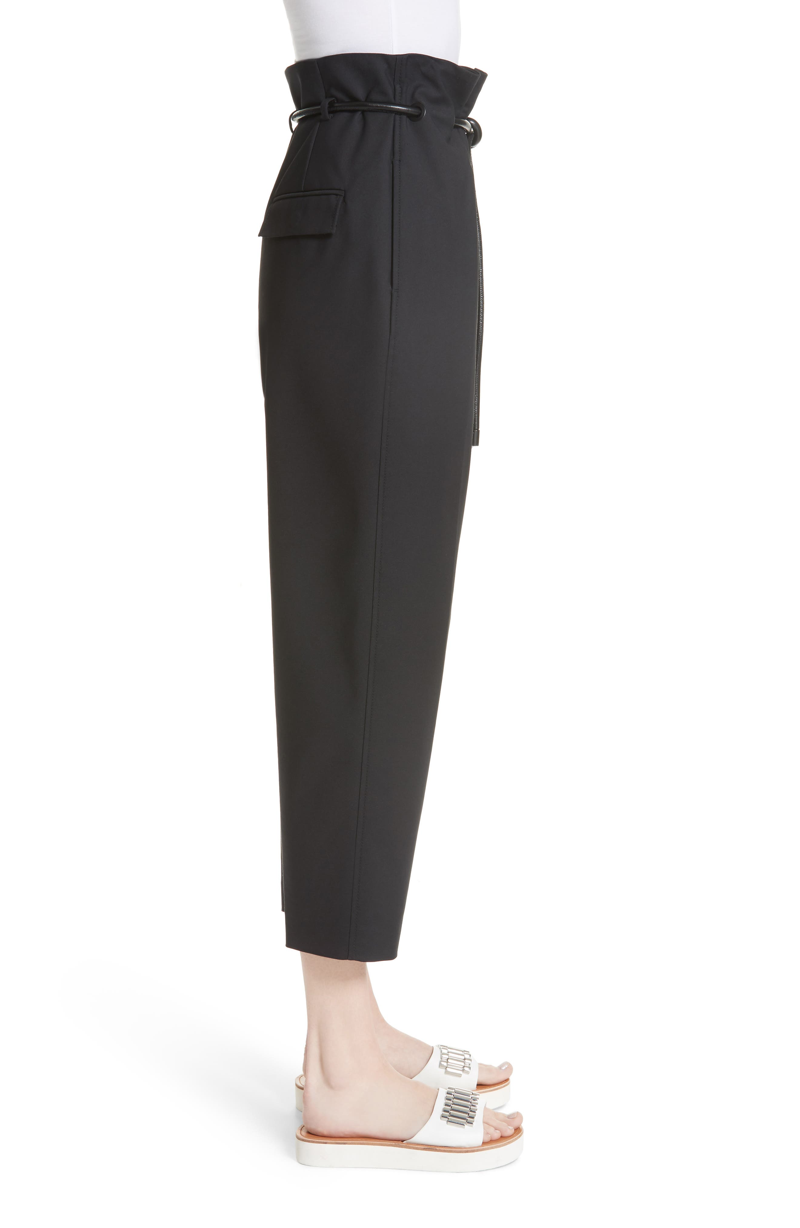 Origami Crop Flare Pants,                             Alternate thumbnail 3, color,                             Black