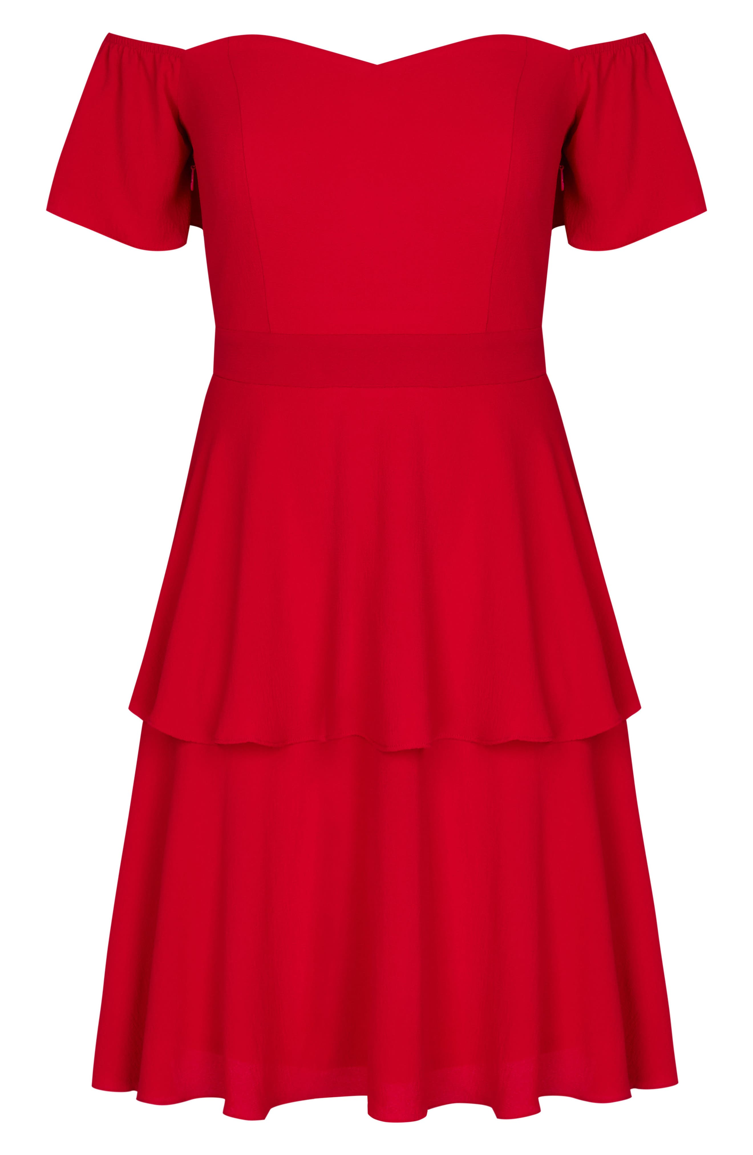 True Romance Off the Shoulder Dress,                             Alternate thumbnail 3, color,                             Red