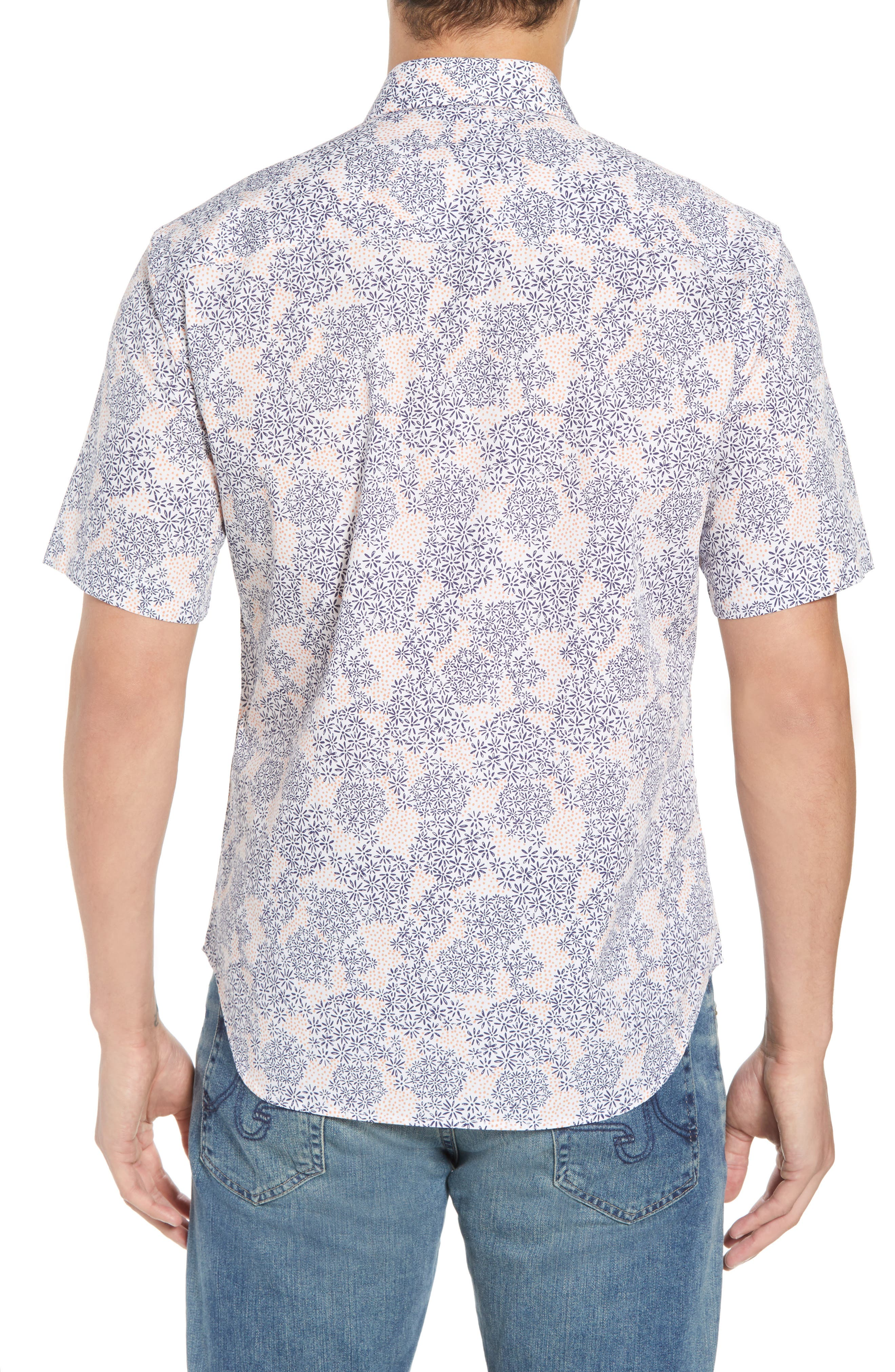 Ali Regular Fit Print Sport Shirt,                             Alternate thumbnail 3, color,                             Navy
