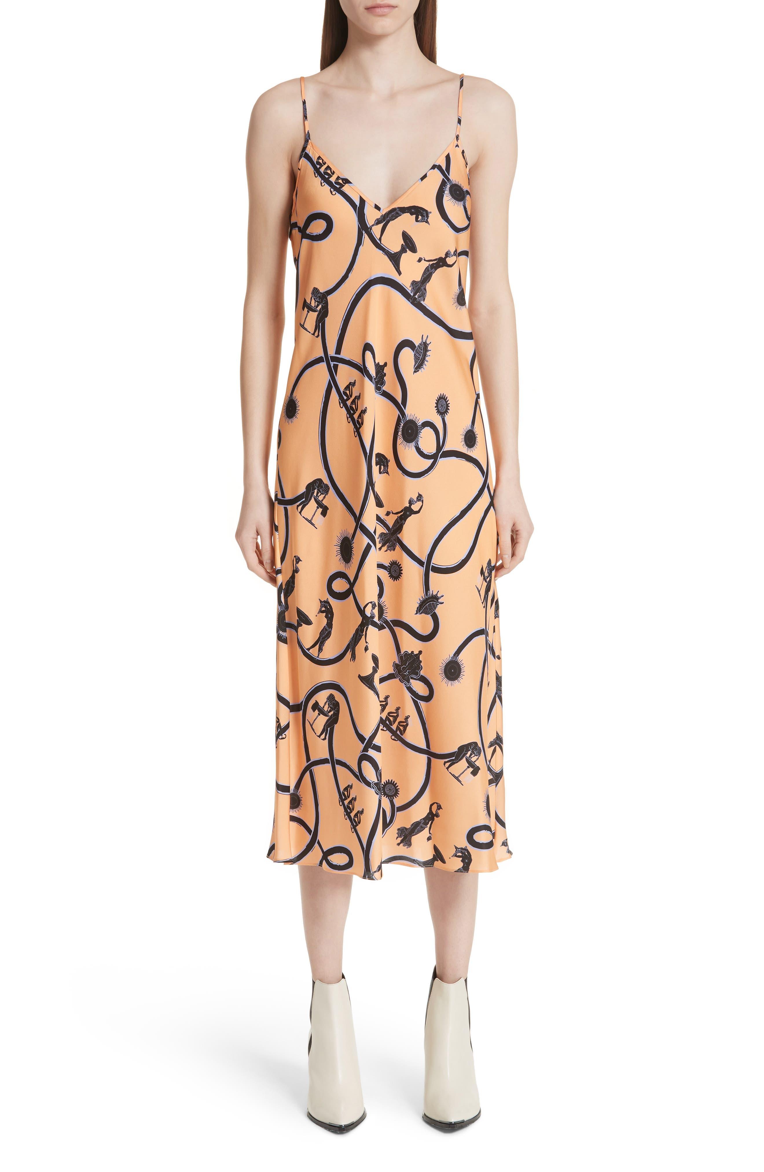 Vast Georgette Slipdress,                         Main,                         color, Orange