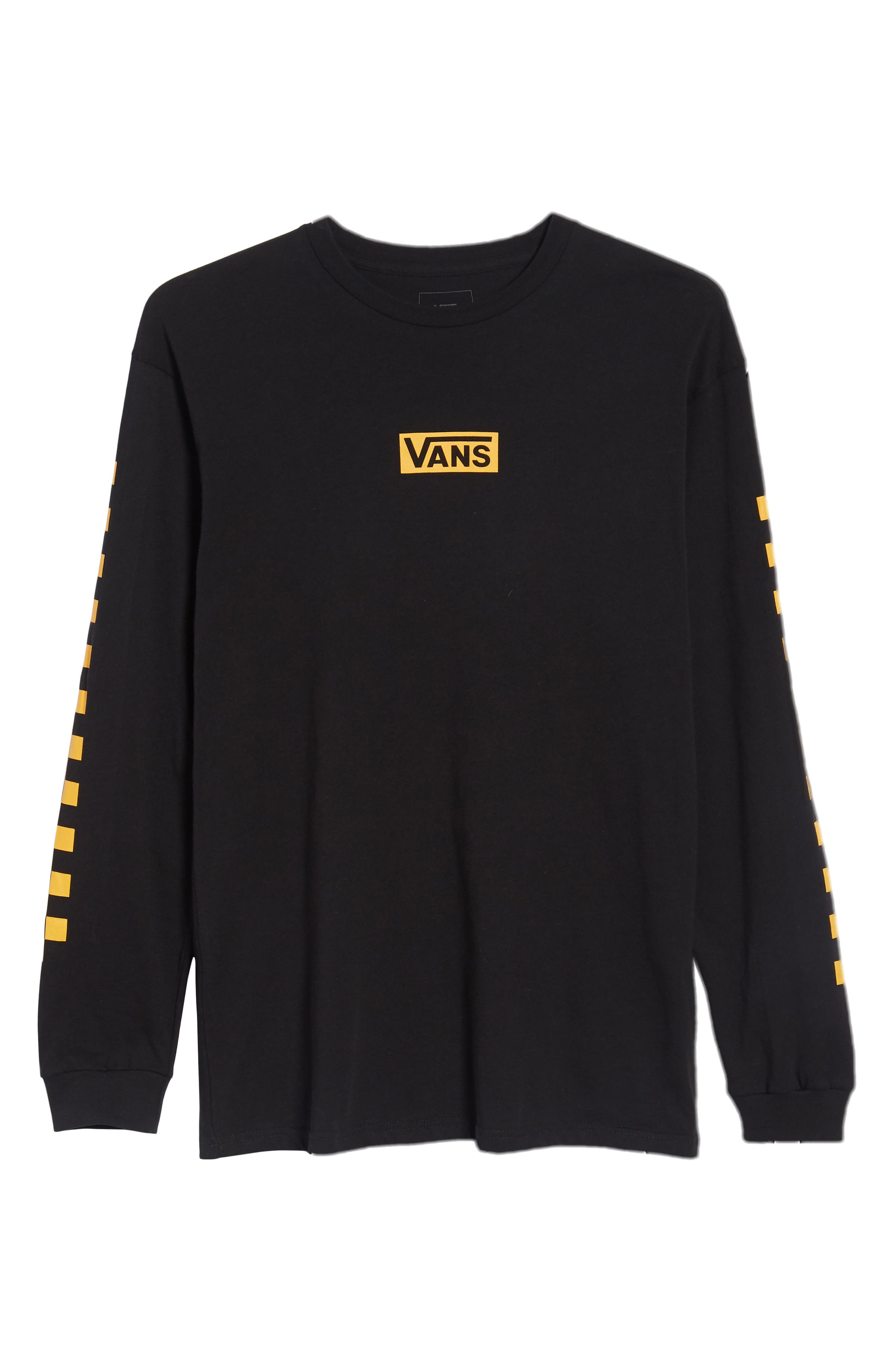 Classic Checkmate Long Sleeve T-Shirt,                             Alternate thumbnail 6, color,                             Black/ Yellow