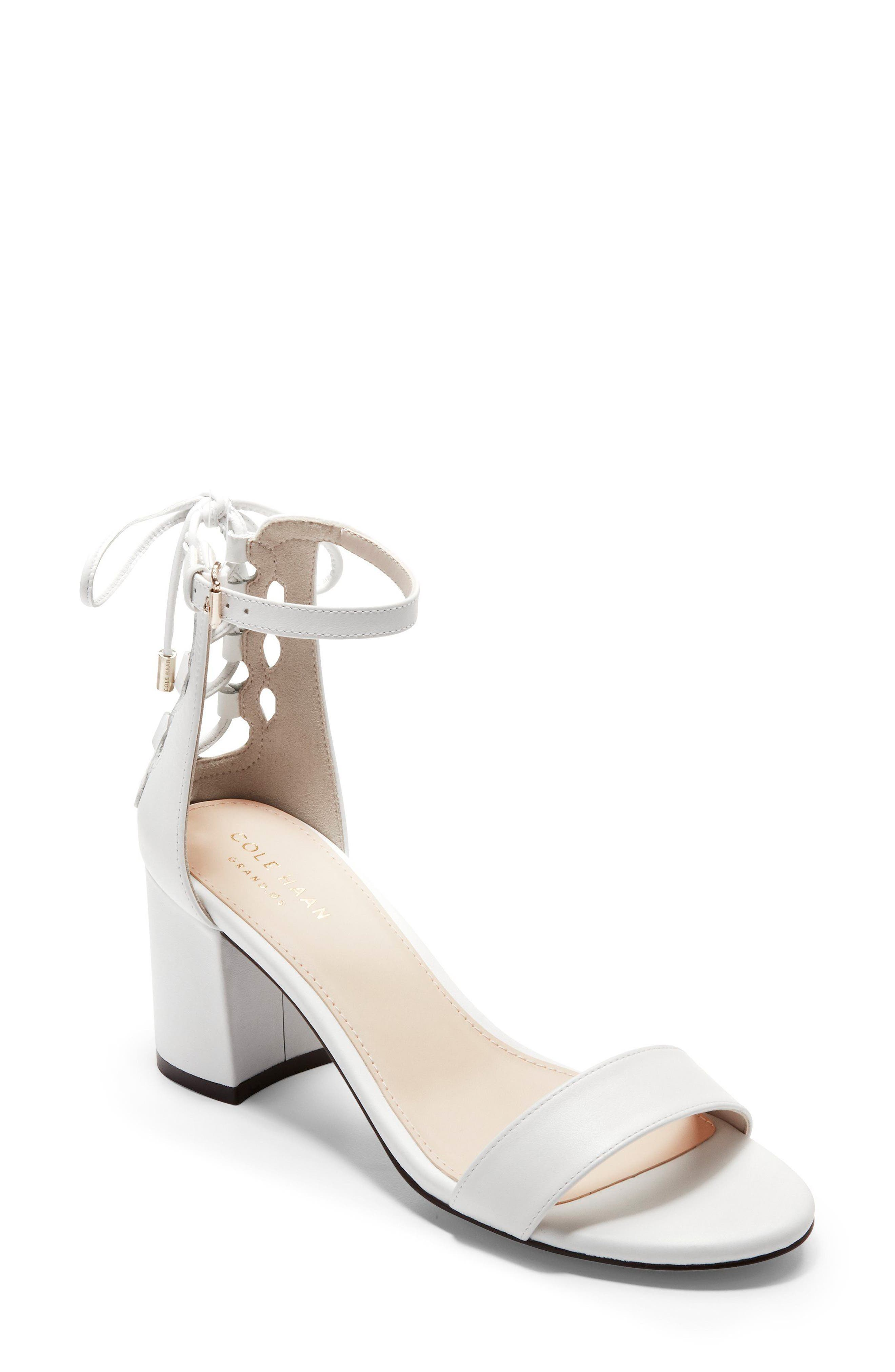 Leah Sandal,                         Main,                         color, White Leather