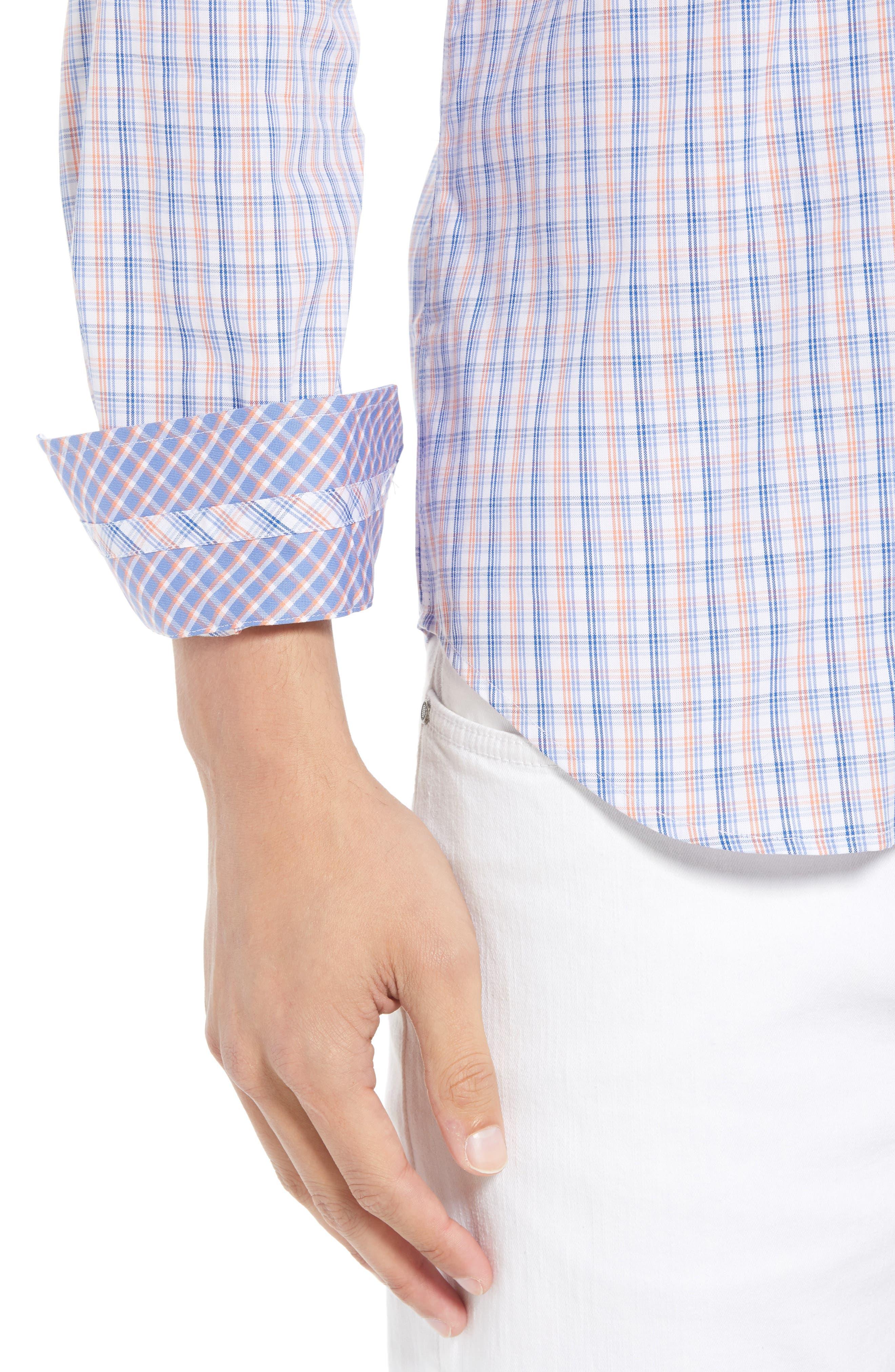 Javion Regular Fit Check Sport Shirt,                             Alternate thumbnail 2, color,                             Orange