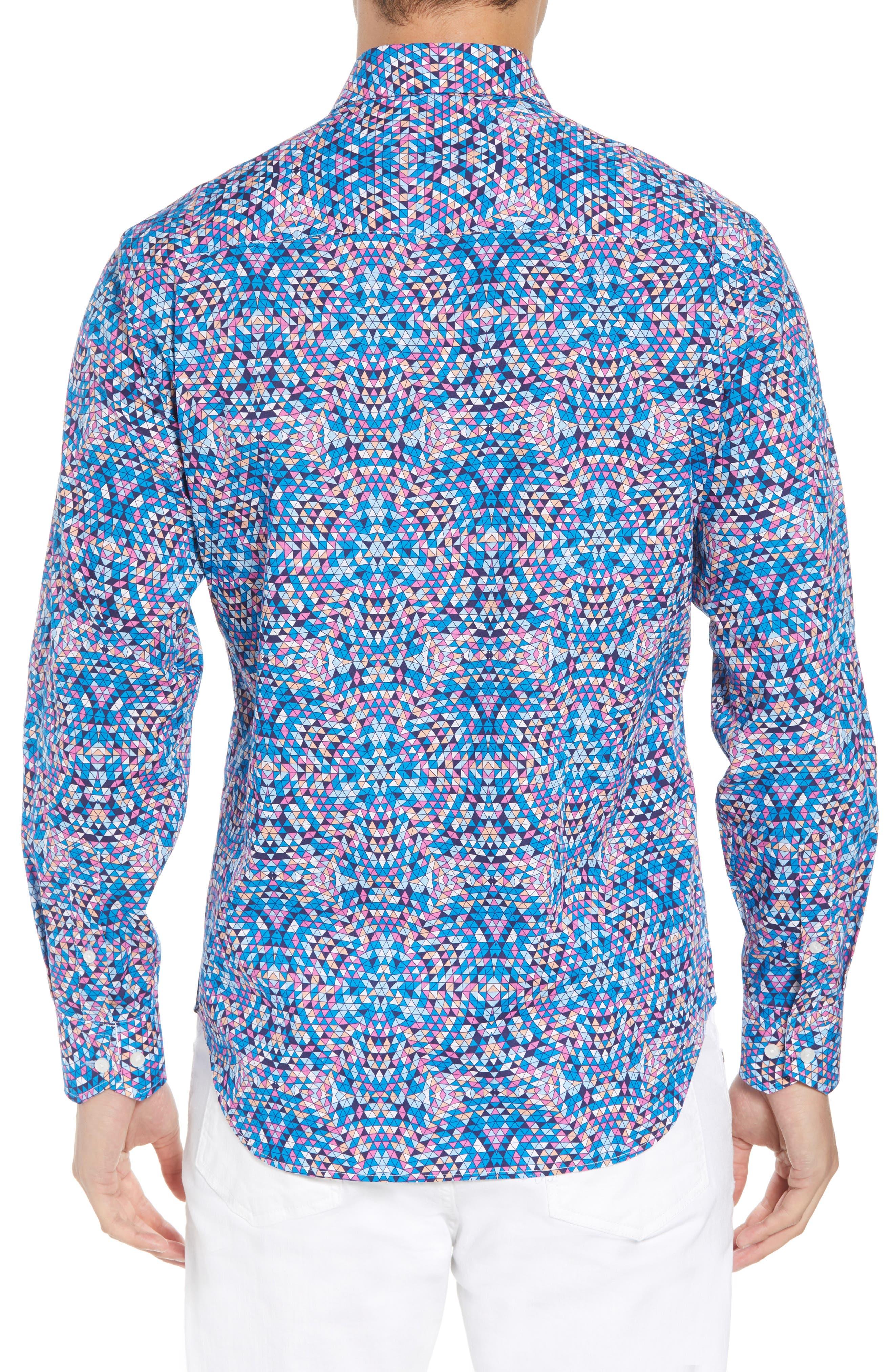 Alden Regular Fit Sport Shirt,                             Alternate thumbnail 3, color,                             Teal