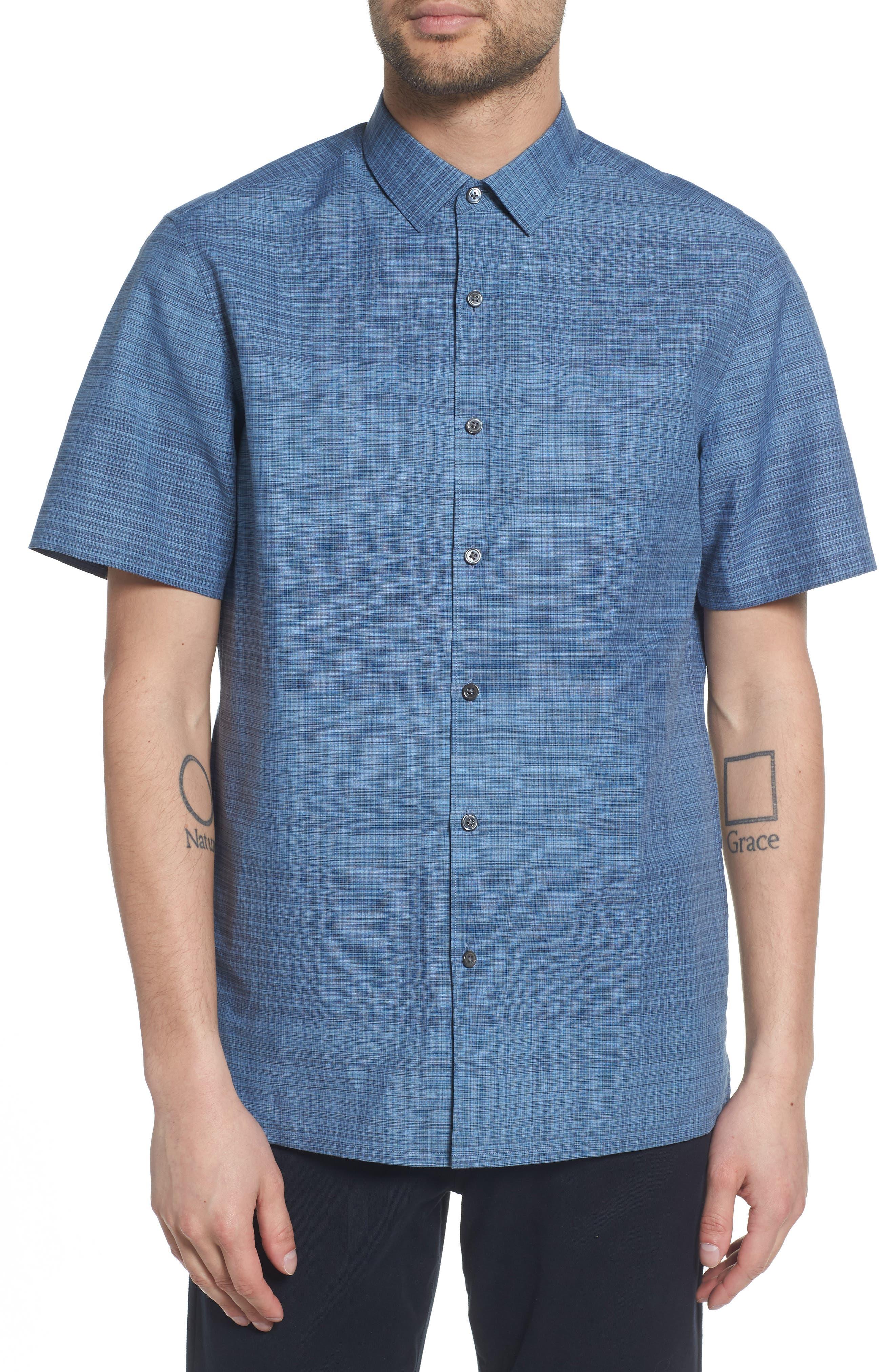 Theory Murray Trim Fit Print Woven Shirt