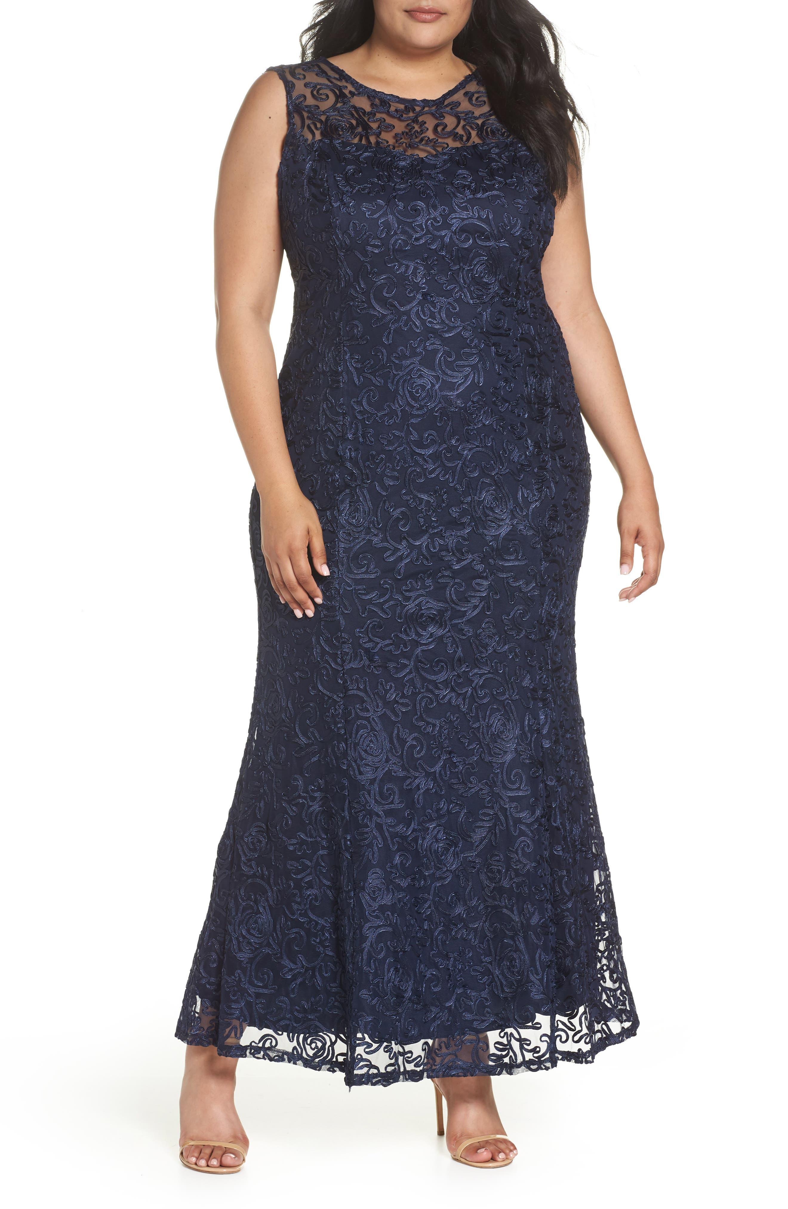 Soutache Fit & Flare Gown,                         Main,                         color, Navy