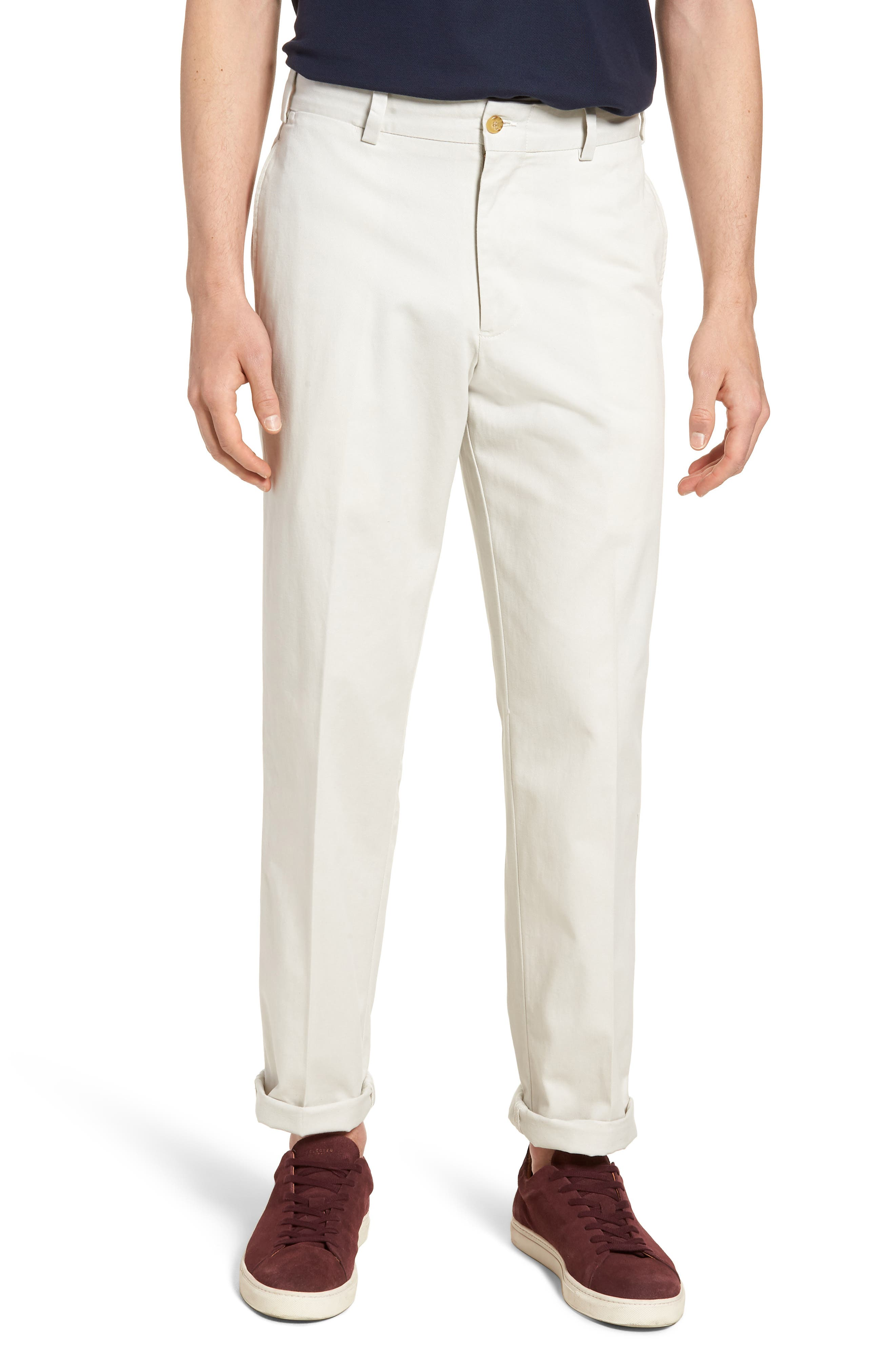 M2 Classic Fit Vintage Twill Flat Front Pants,                         Main,                         color, Stone