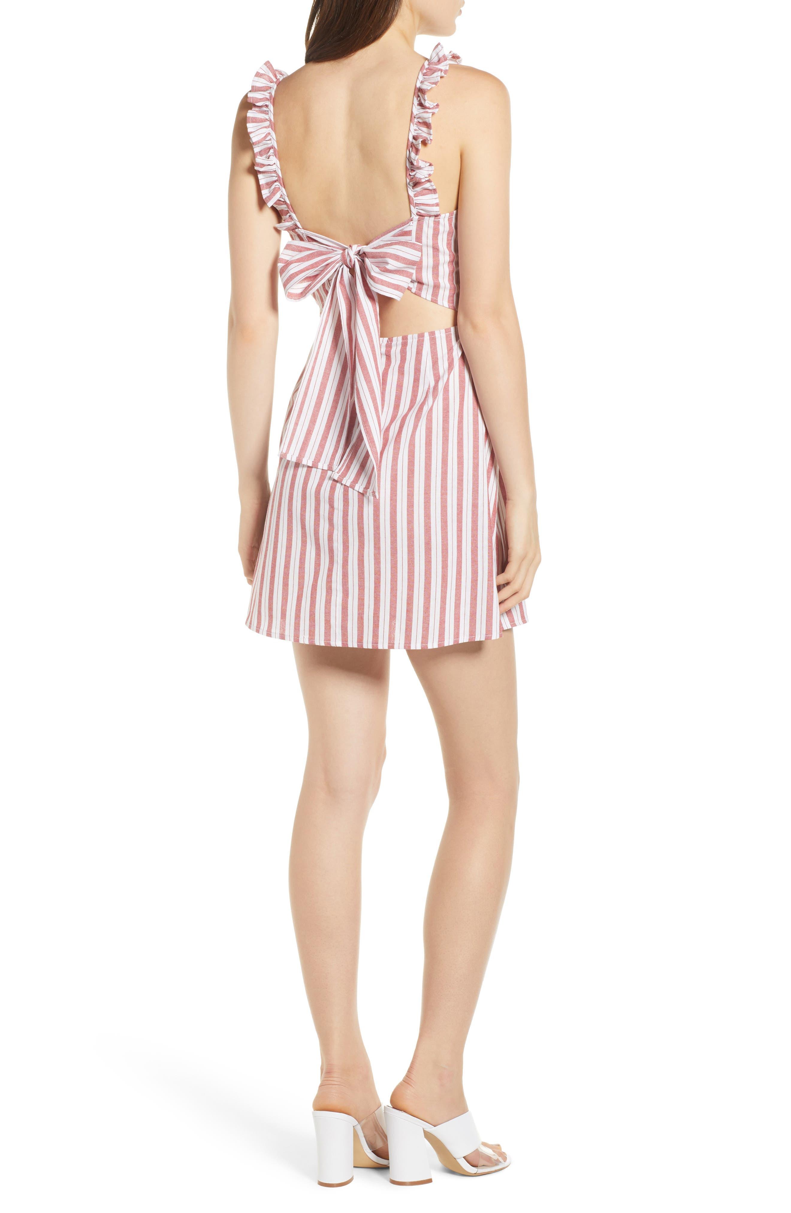 Acacia Stripe Ruffle Dress,                             Alternate thumbnail 3, color,                             White W Red