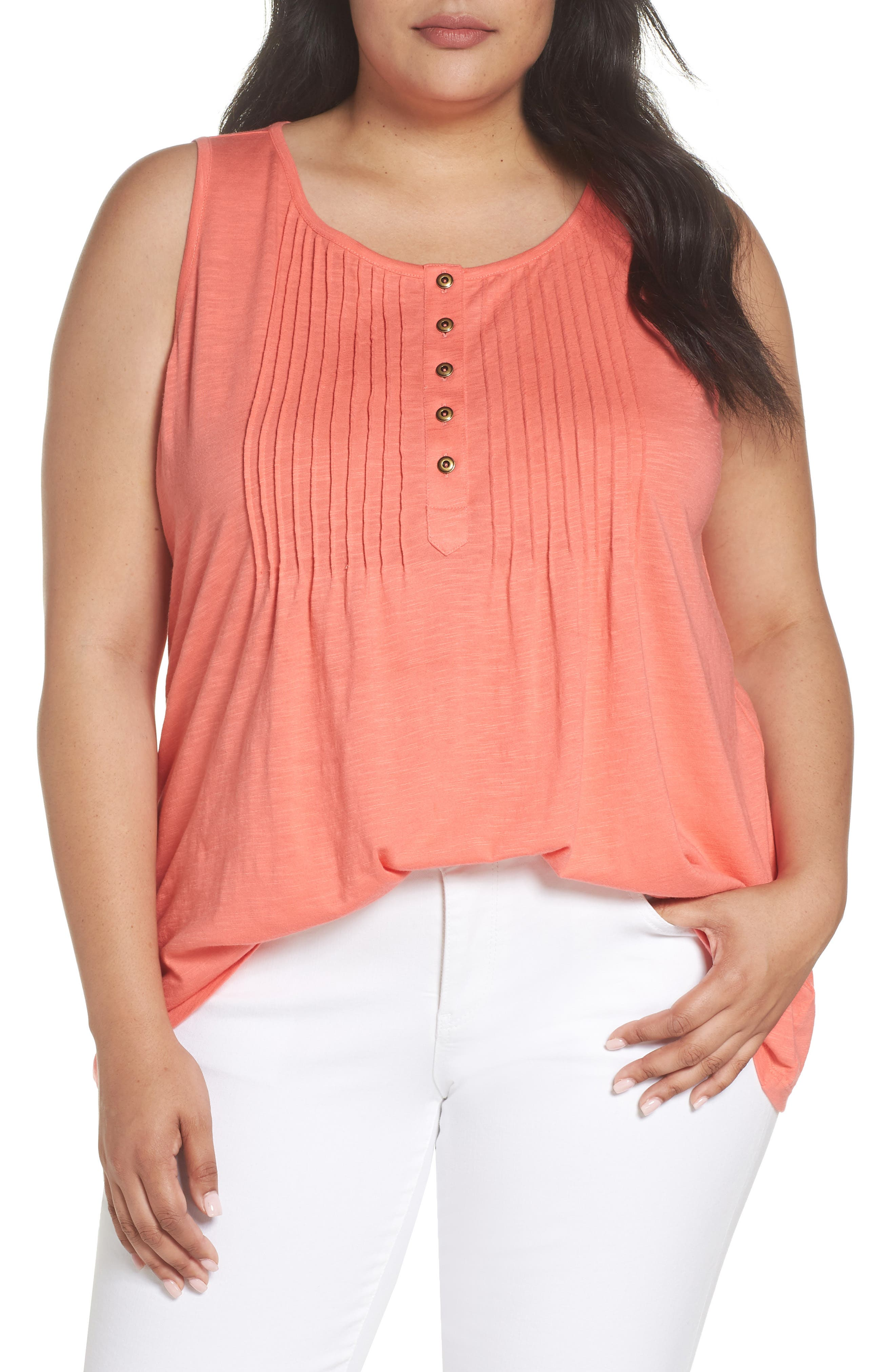 Pintuck Henley Tank,                         Main,                         color, Coral Rose