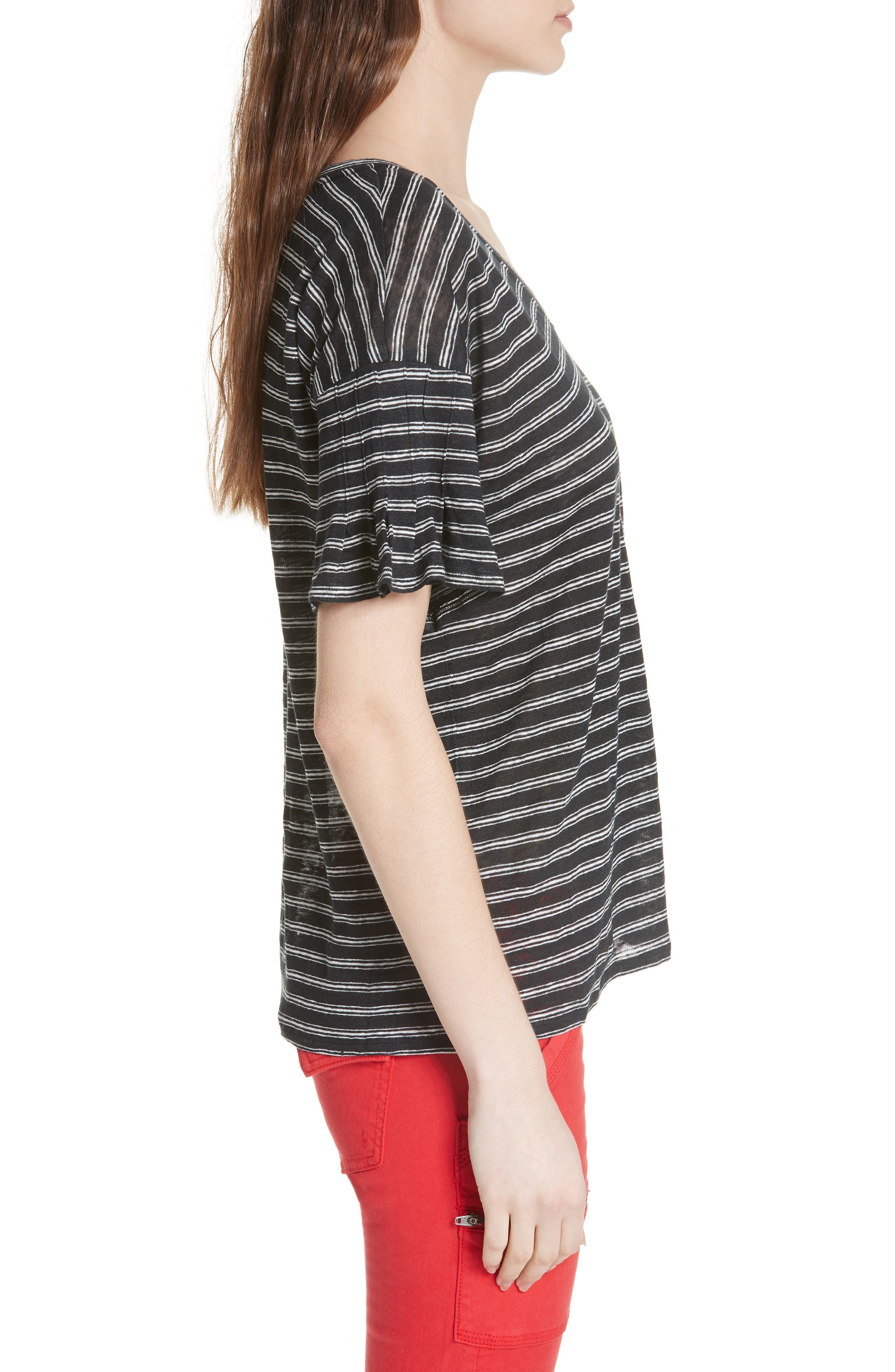 Adaira Stripe Linen Tee,                             Alternate thumbnail 3, color,                             Caviar/ Porcelain