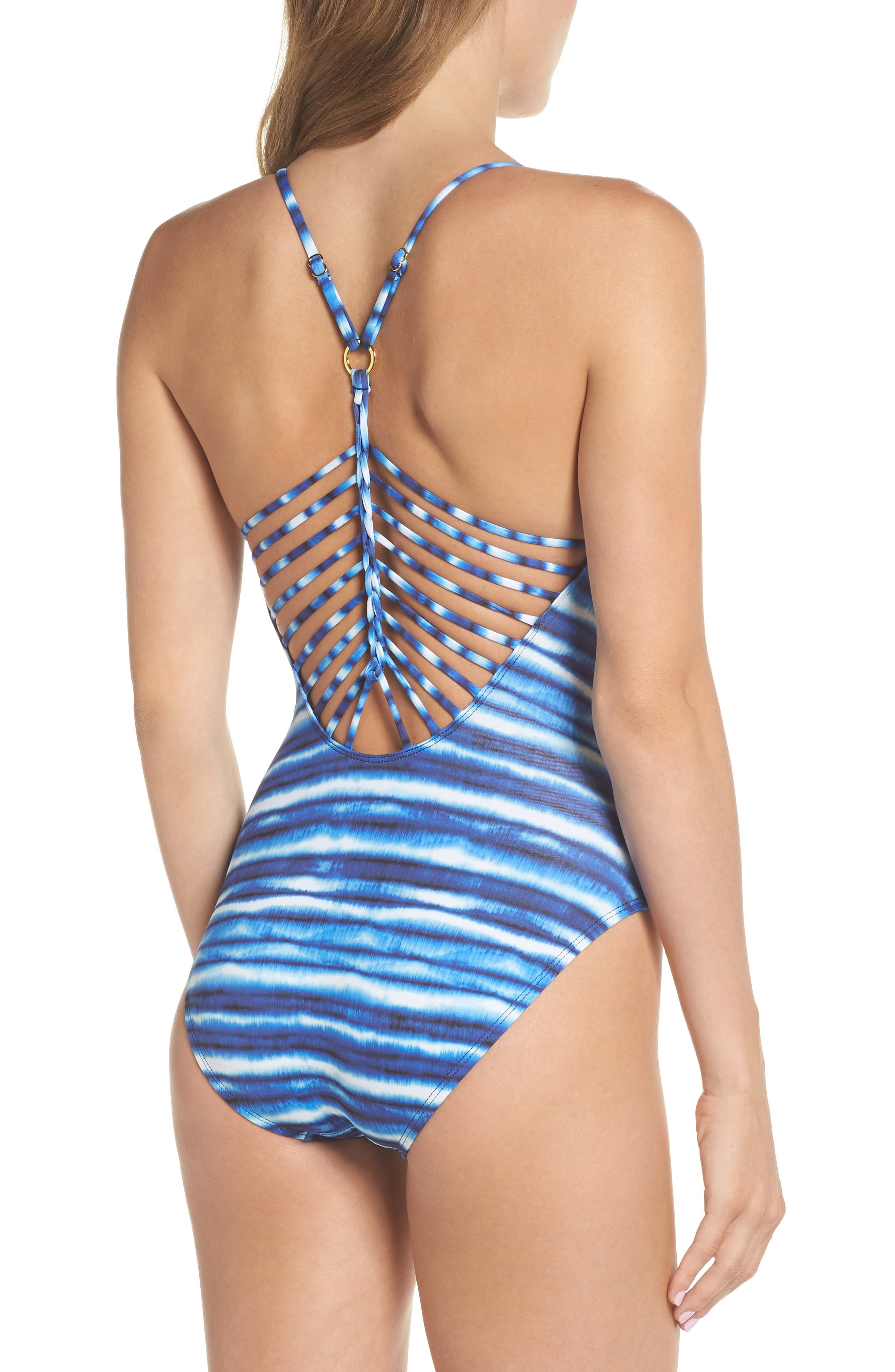 Strappy Back One-Piece Swimsuit,                             Alternate thumbnail 2, color,                             Midnight