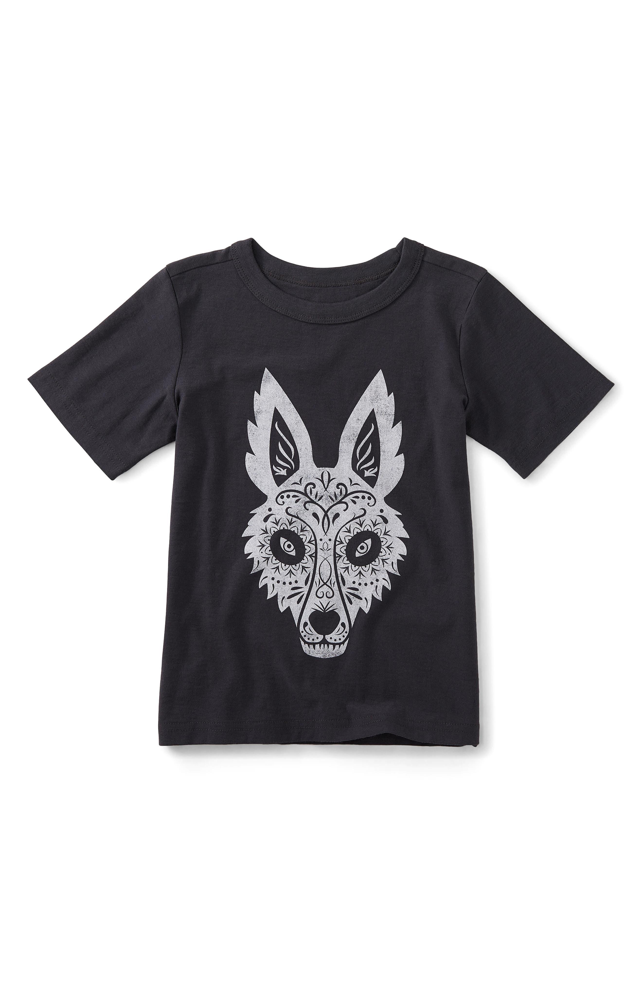 Day of the Dead Fox Graphic T-Shirt,                             Main thumbnail 1, color,                             Phantom