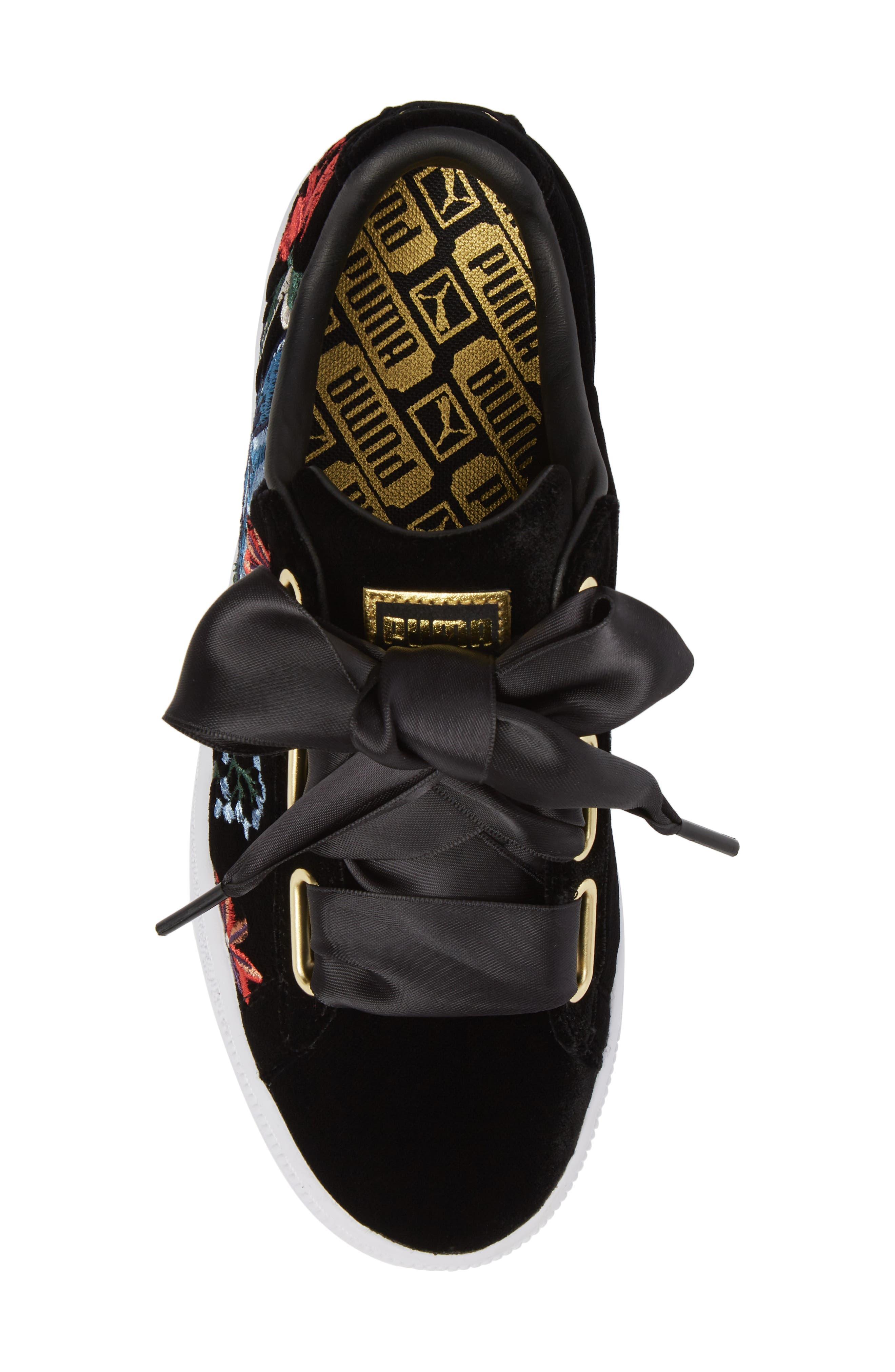 Basket Heart Hyper Embroidered Sneaker,                             Alternate thumbnail 5, color,                             Black