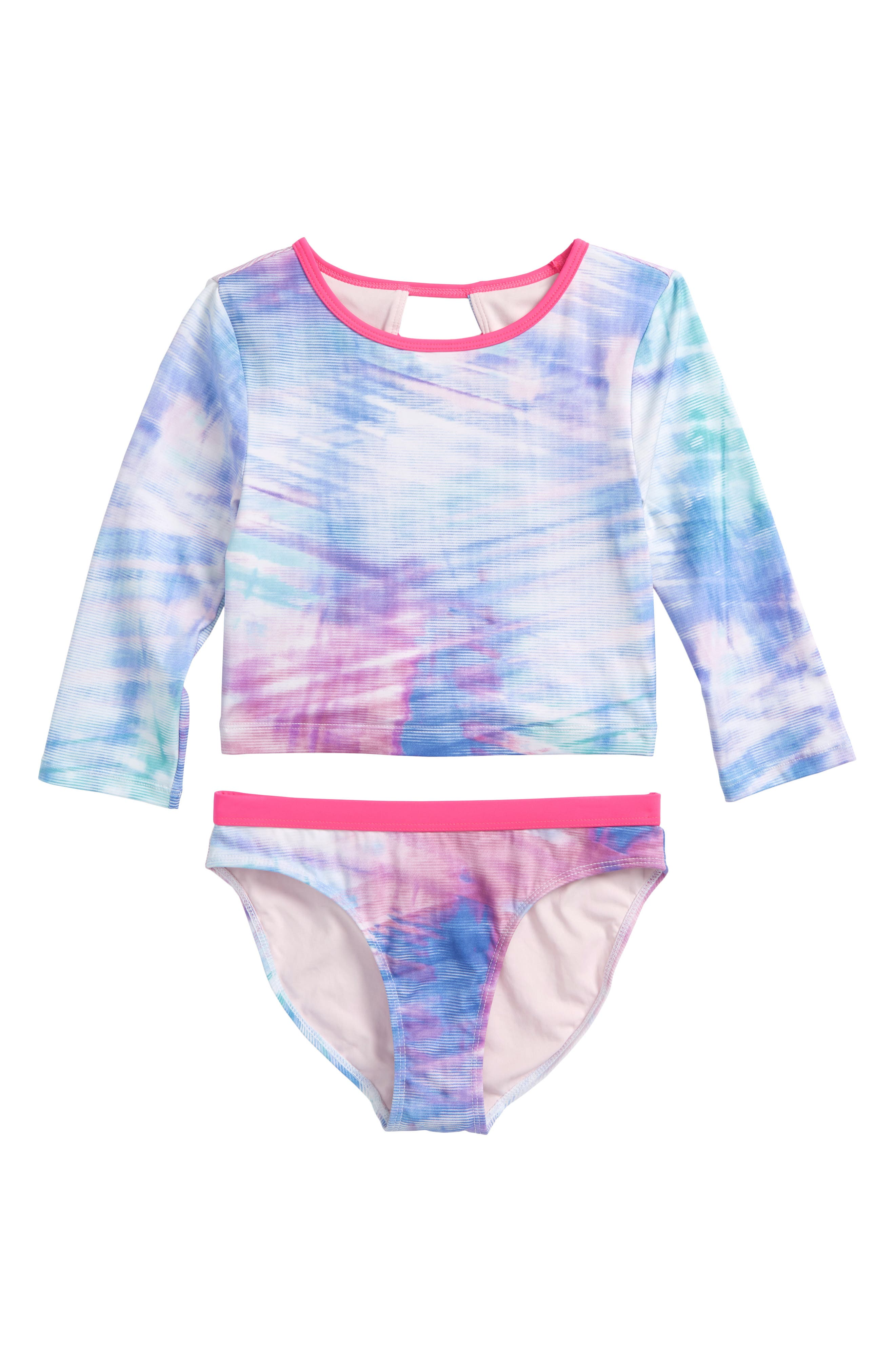 Scoop Two-Piece Rashguard Swimsuit,                         Main,                         color, Pink Neon Striped Wash