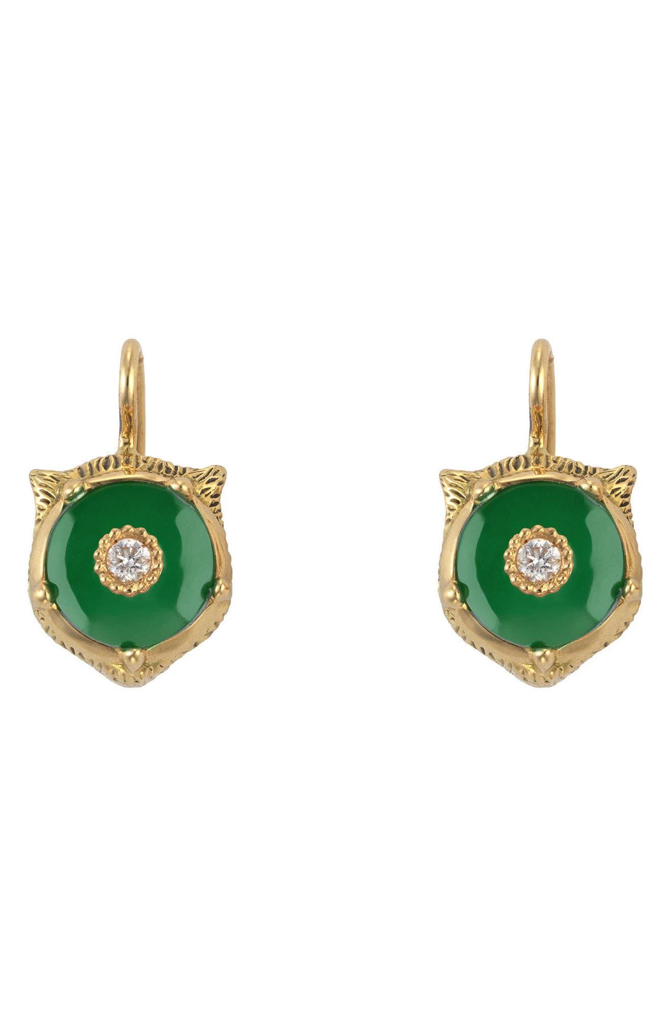 Feline Head Earrings,                         Main,                         color, Yellow Gold/ Green Jade