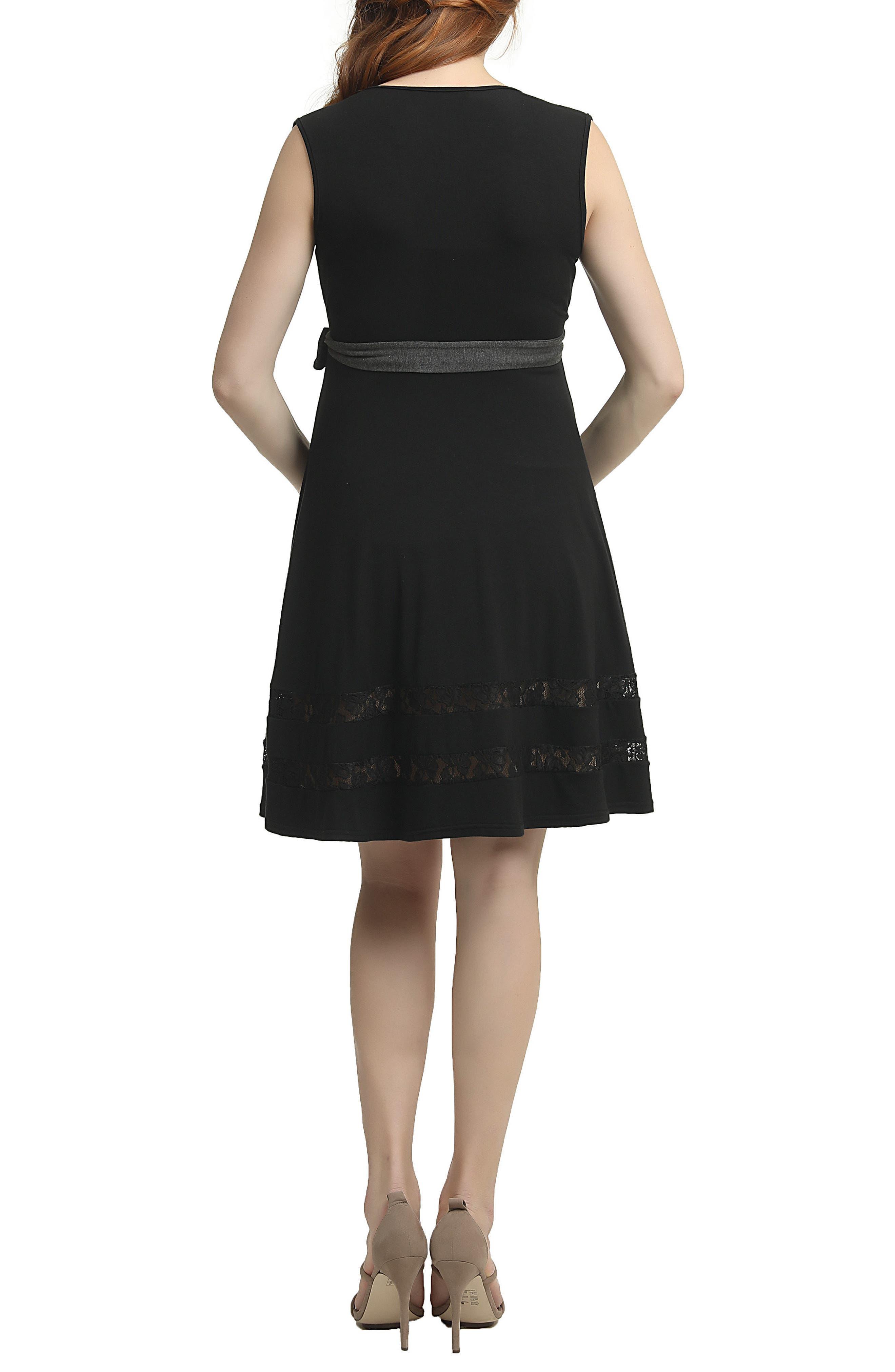 Marji Lace Accent Babydoll Maternity/Nursing Dress,                             Alternate thumbnail 2, color,                             Black