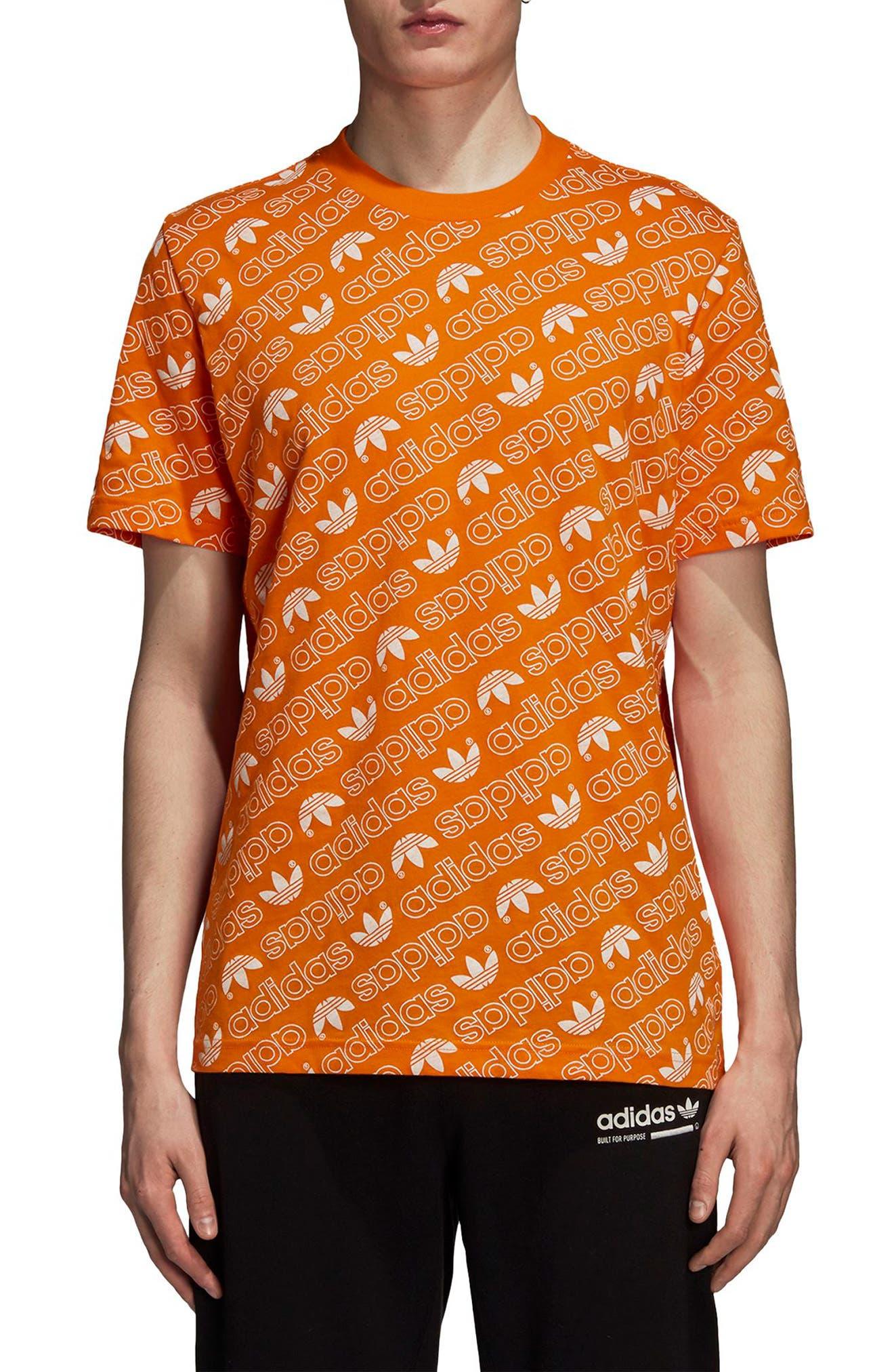Monogram Allover Print T-Shirt,                         Main,                         color, Bright Orange