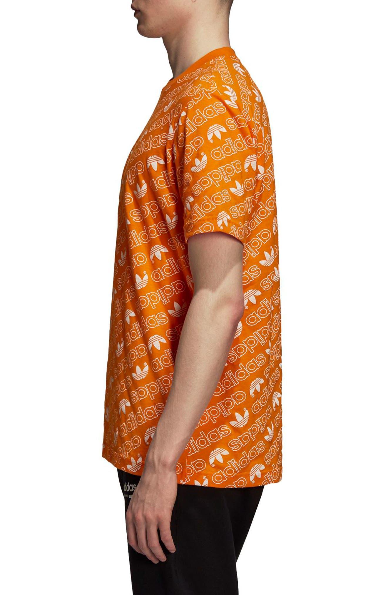 Monogram Allover Print T-Shirt,                             Alternate thumbnail 3, color,                             Bright Orange