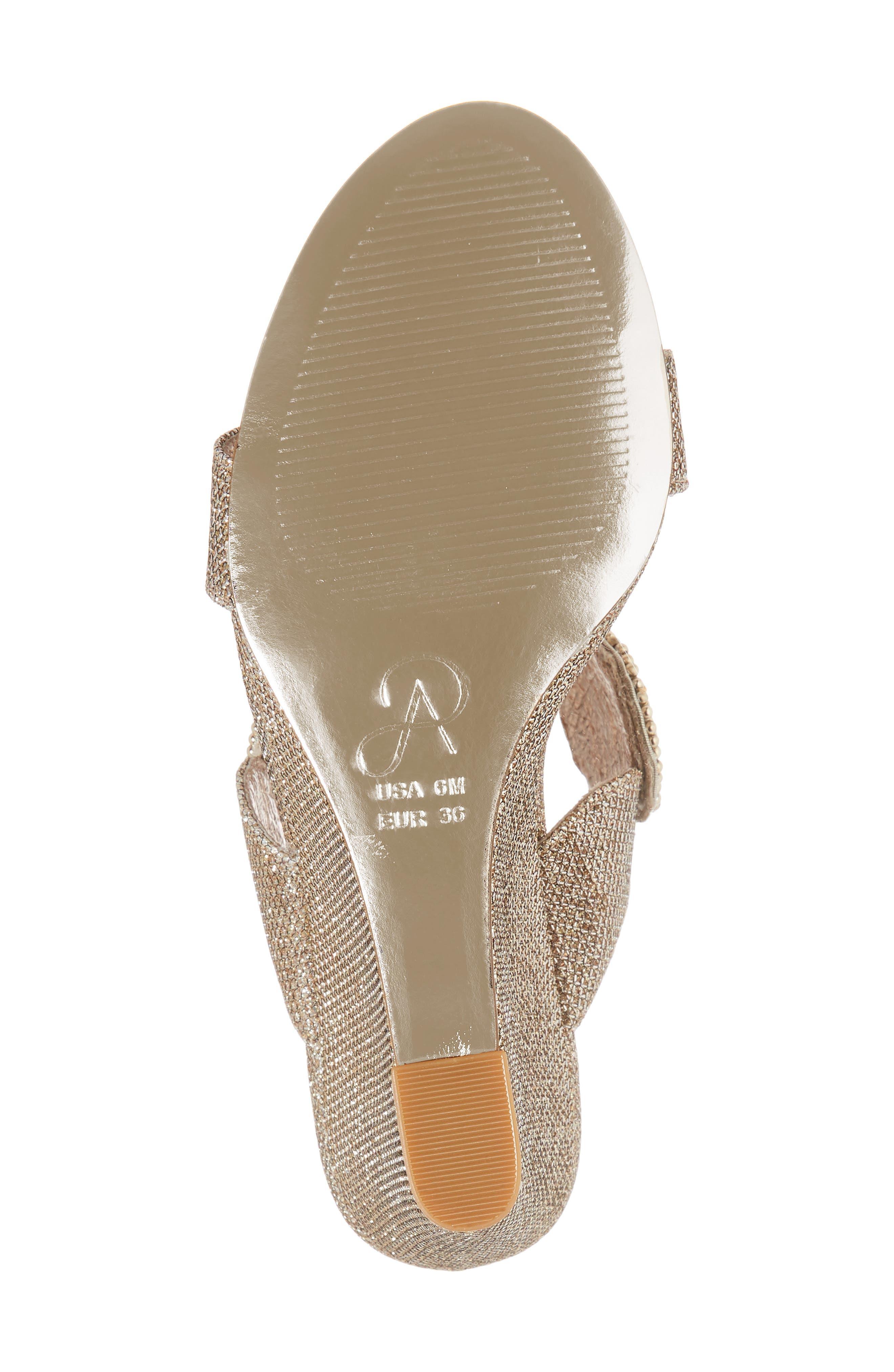 Argo Wedge Sandal,                             Alternate thumbnail 6, color,                             Platinum Fabric