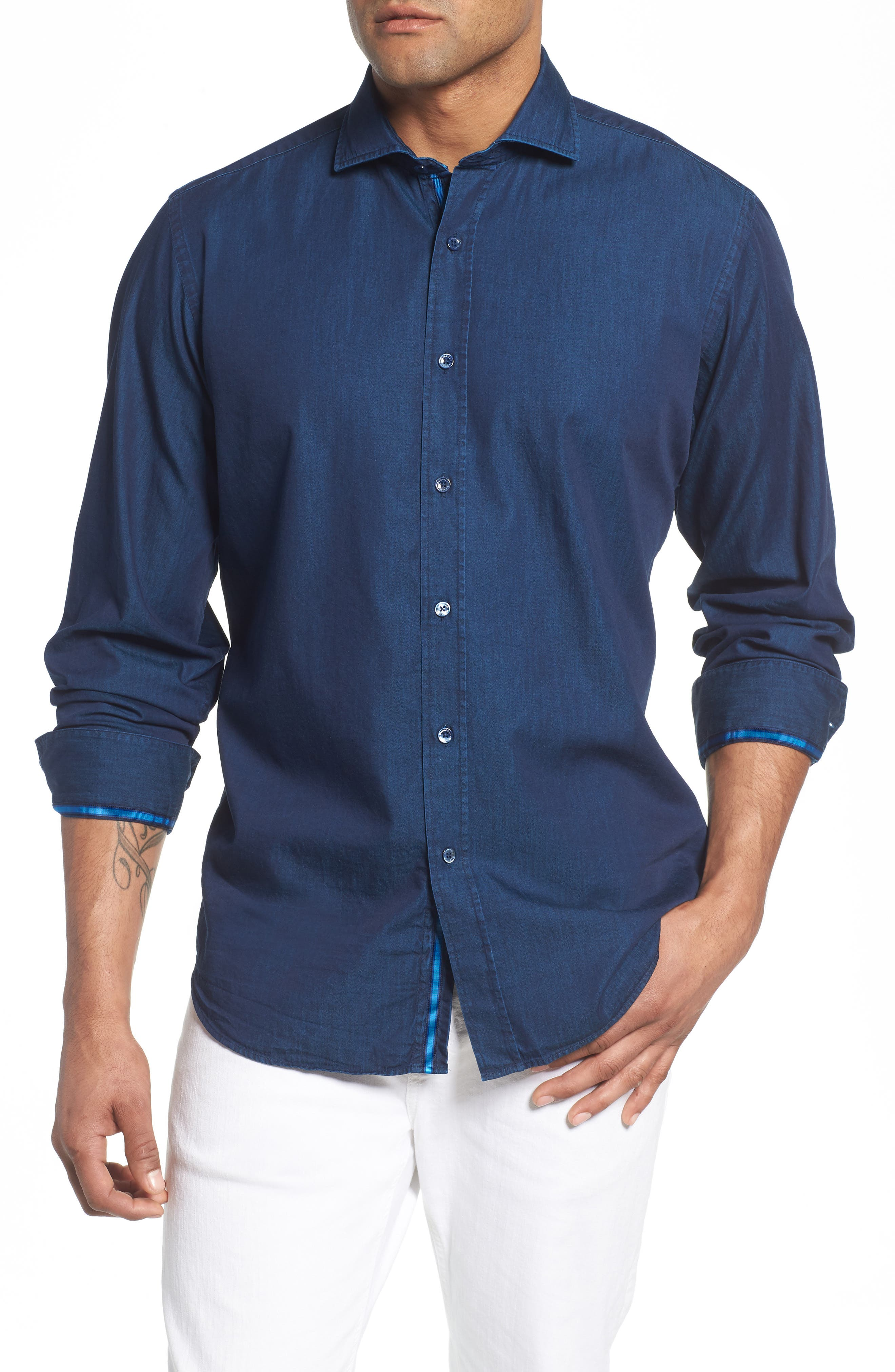 Classic Fit Indigo Sport Shirt,                             Main thumbnail 1, color,                             Navy
