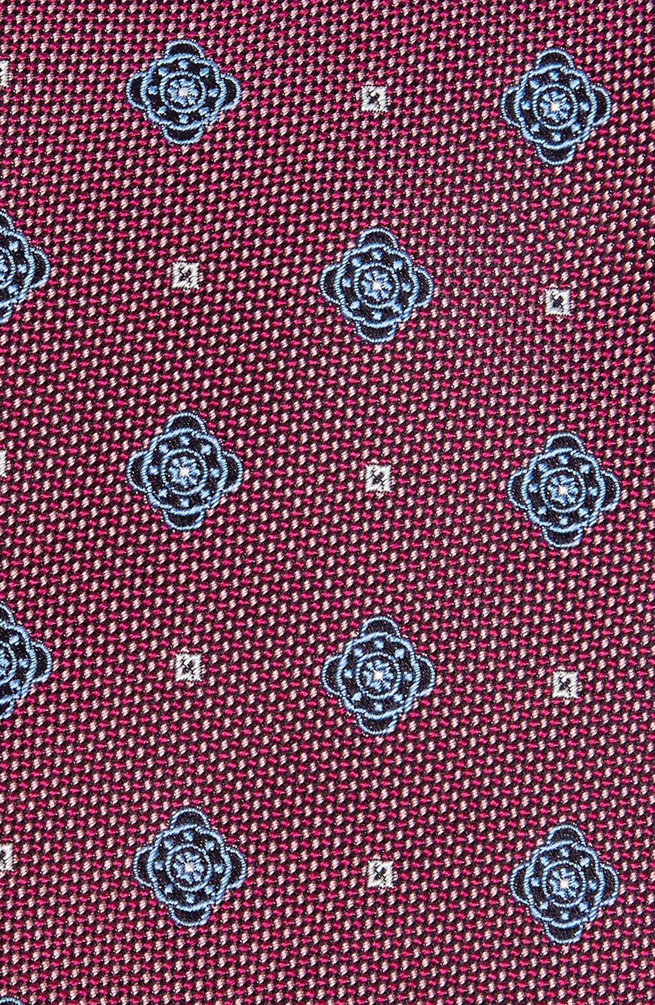 Medallion Silk Tie,                             Alternate thumbnail 2, color,                             Berry