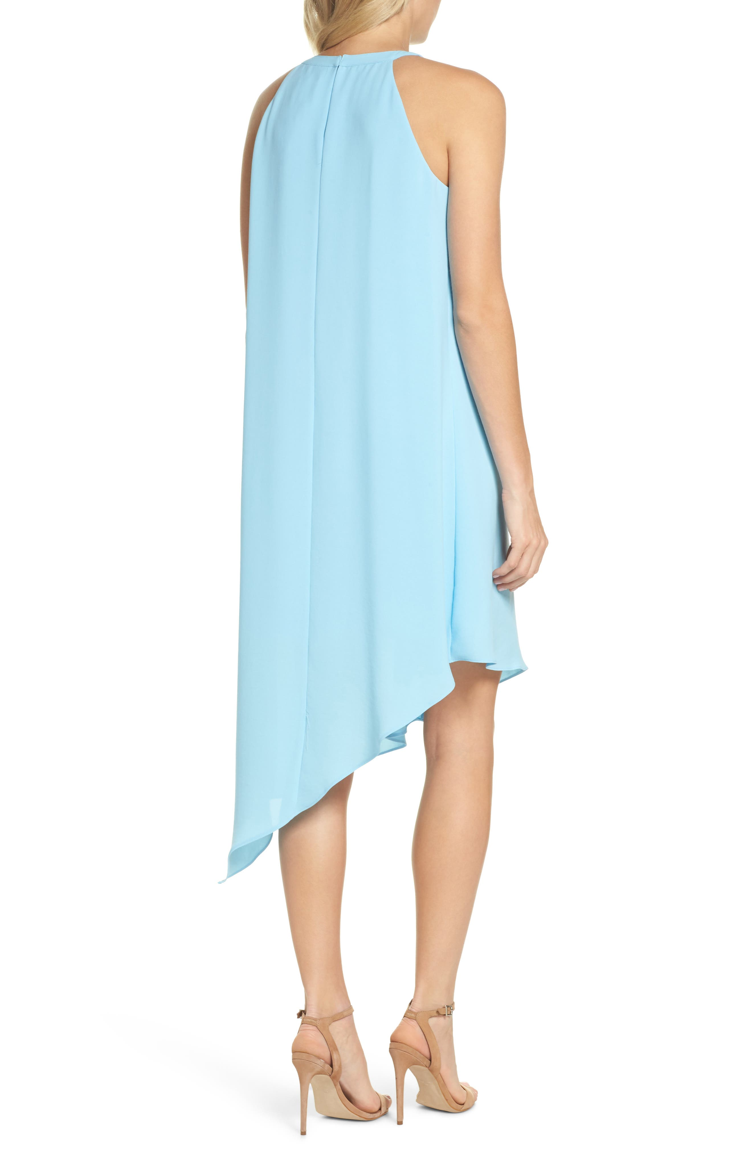 Double Ruffle Gauzy Crepe Shift Dress,                             Alternate thumbnail 2, color,                             Azure Mist