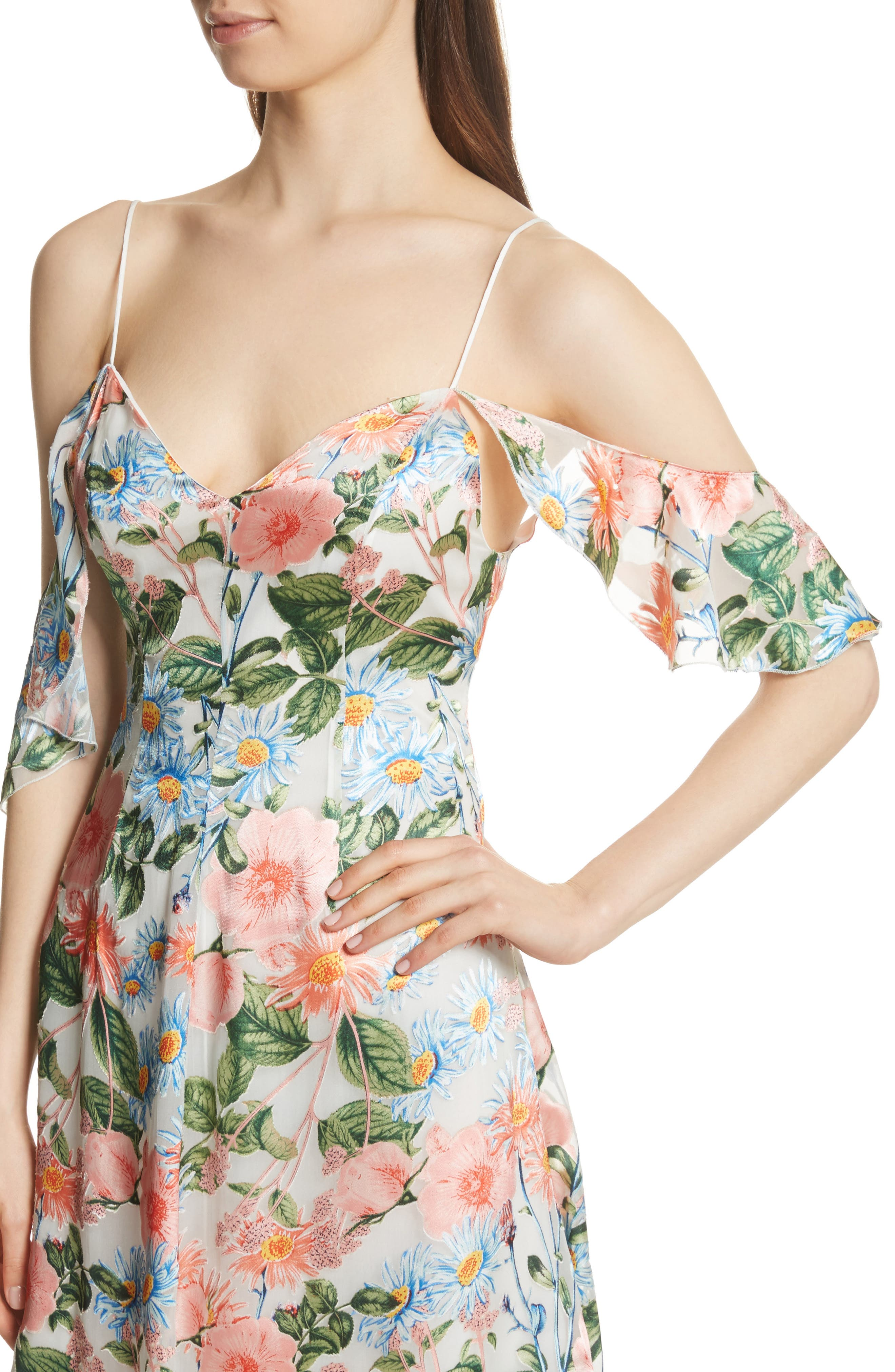 Alternate Image 4  - Alice + Olivia Alves Floral Cold Shoulder Dress