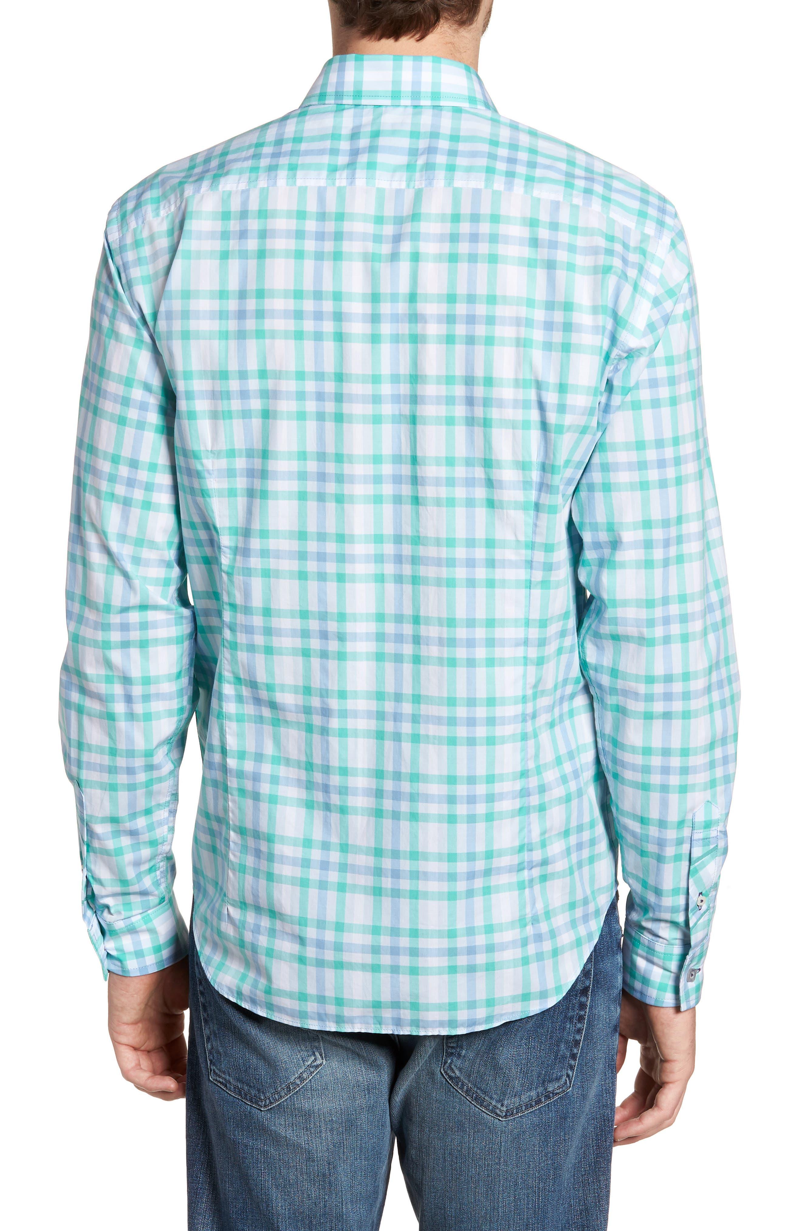 Slim Fit Check Sport Shirt,                             Alternate thumbnail 3, color,                             Turquoise