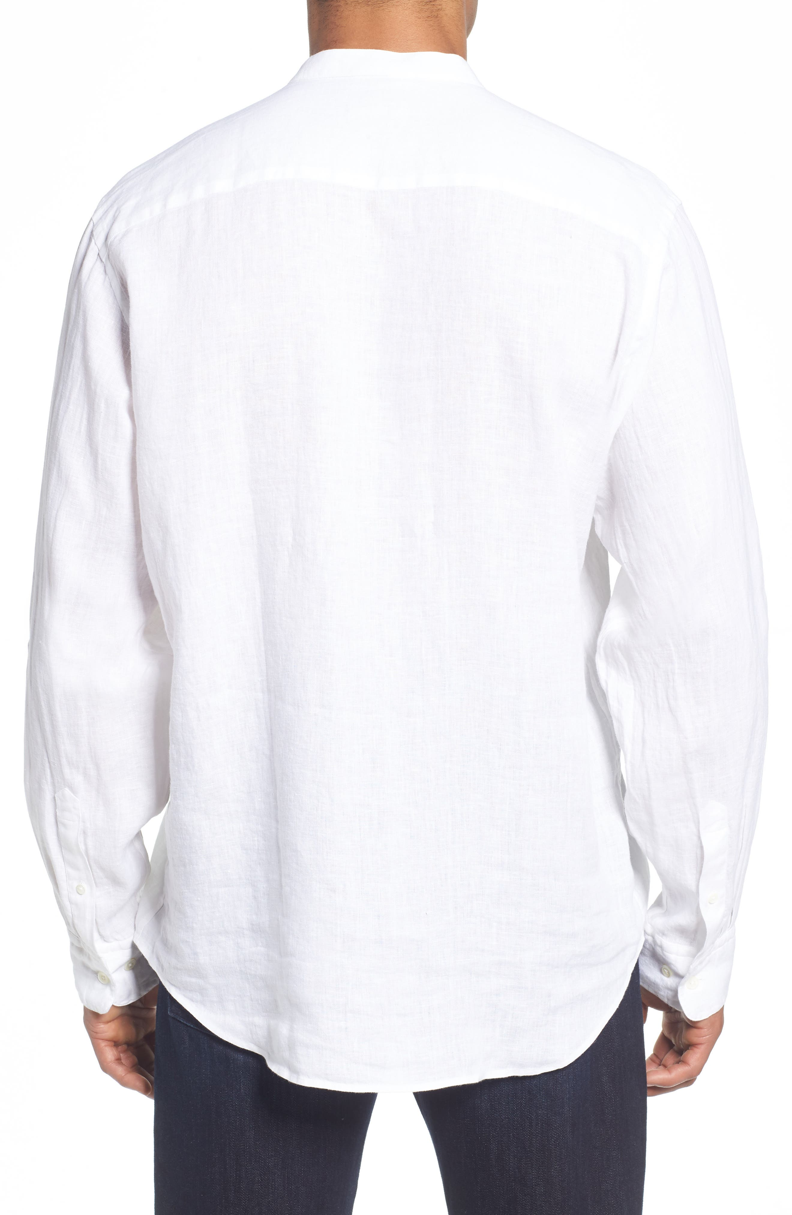 Classic Fit Band Collar Sport Shirt,                             Alternate thumbnail 3, color,                             White