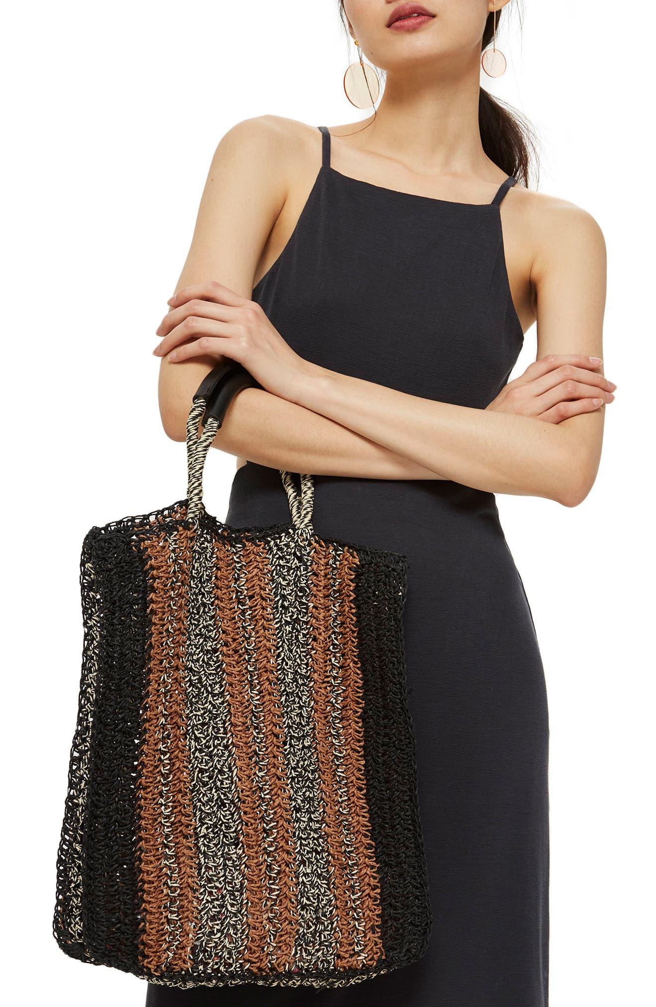 Bath Stripe Straw Tote Bag,                             Alternate thumbnail 2, color,                             Black Multi
