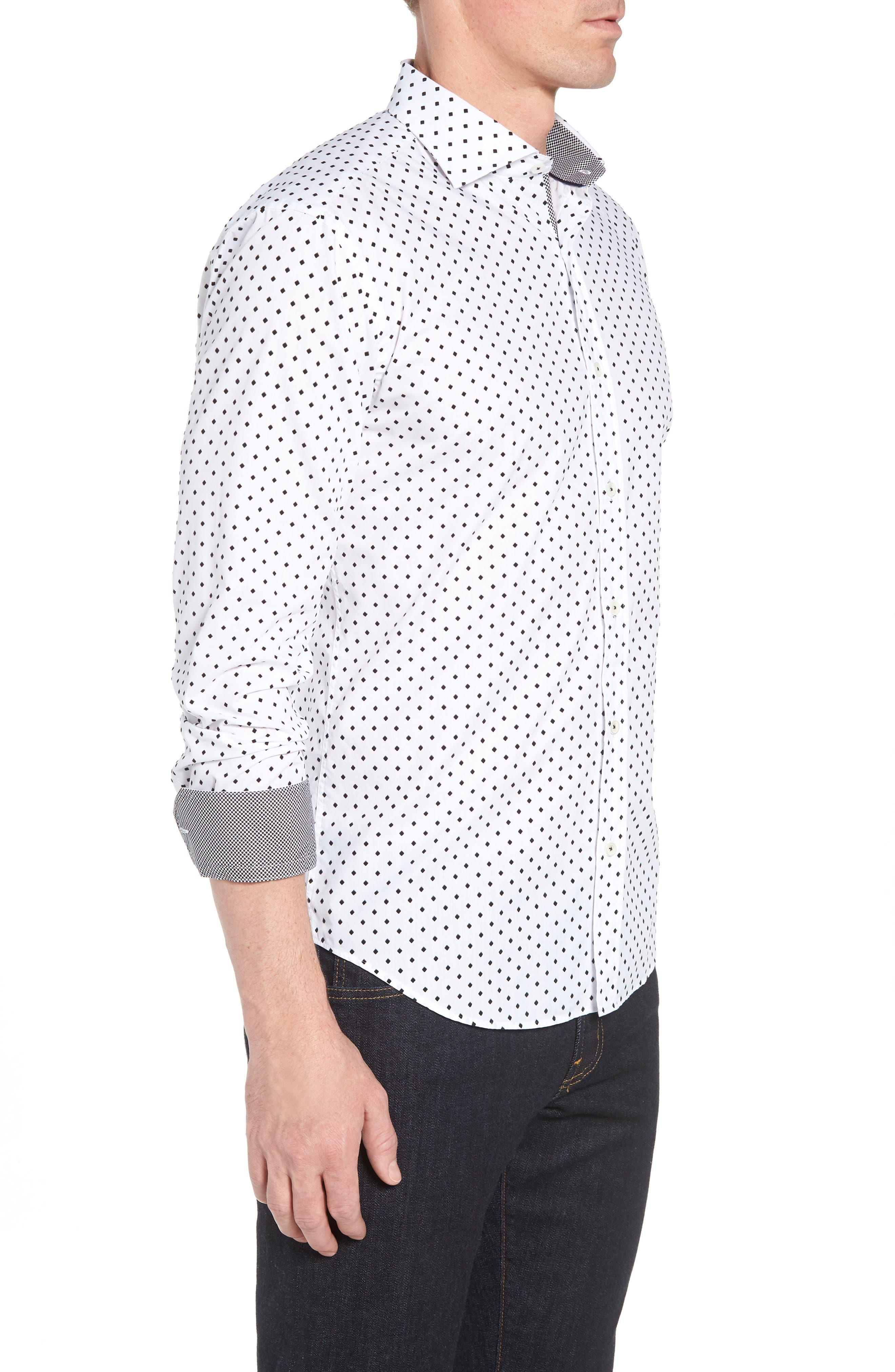 Shaped Fit Print Sport Shirt,                             Alternate thumbnail 4, color,                             White