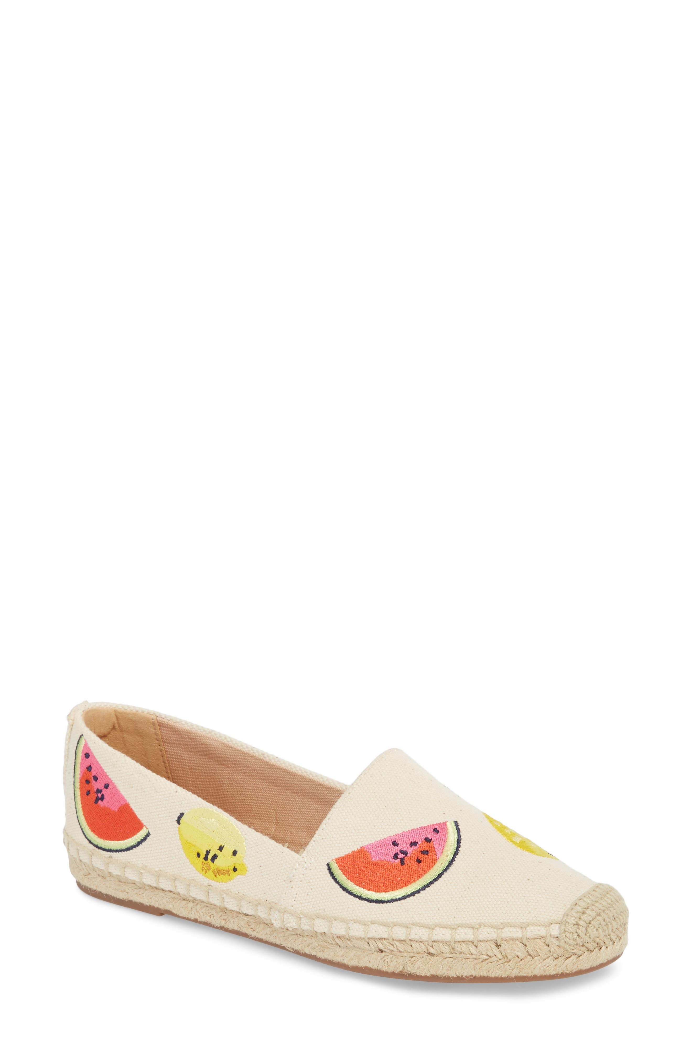 Fruit Salad Embroidered Espadrille,                             Main thumbnail 1, color,                             Sundried Linen