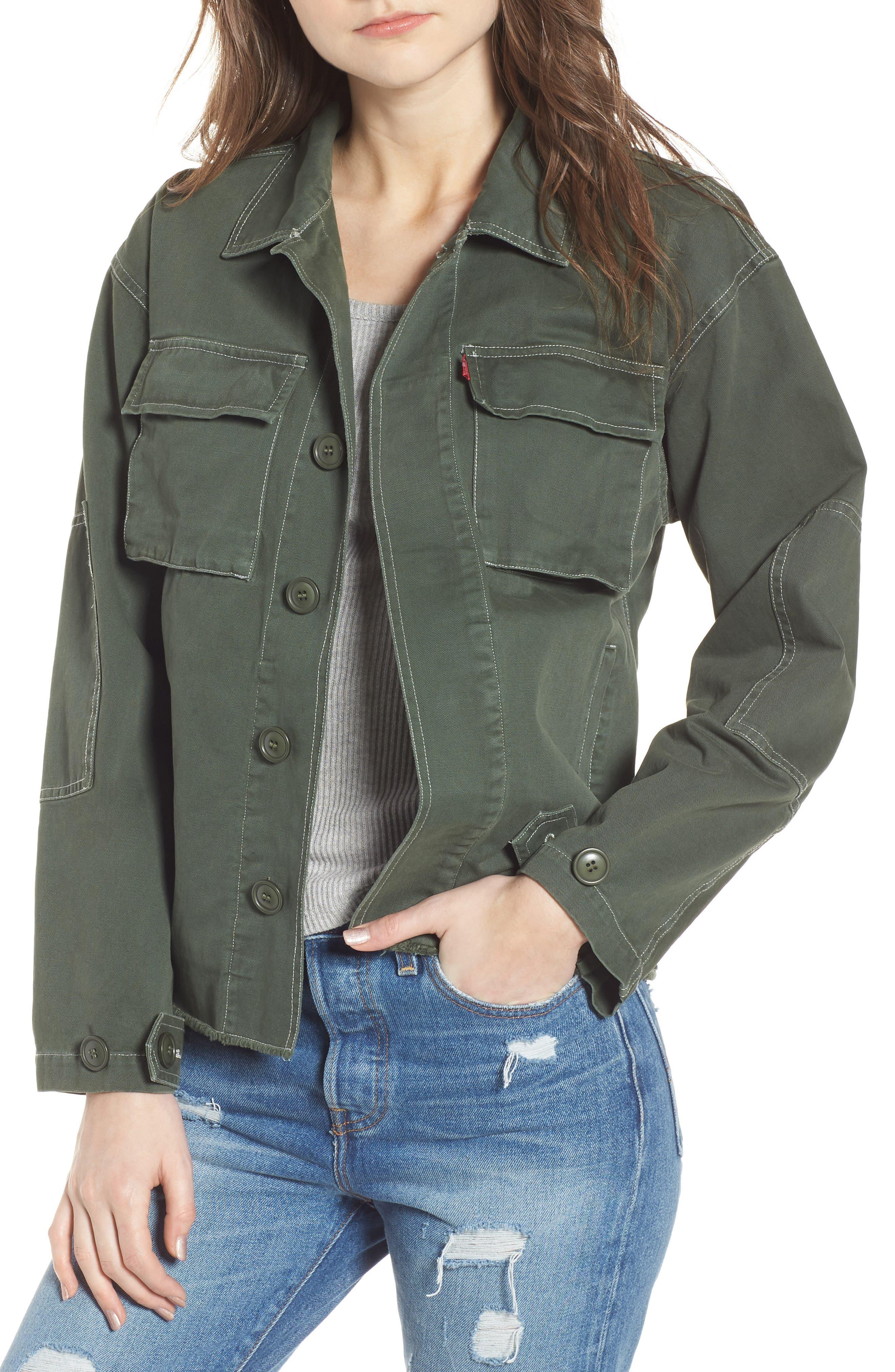 Cotton Shirt Jacket,                         Main,                         color, Olive