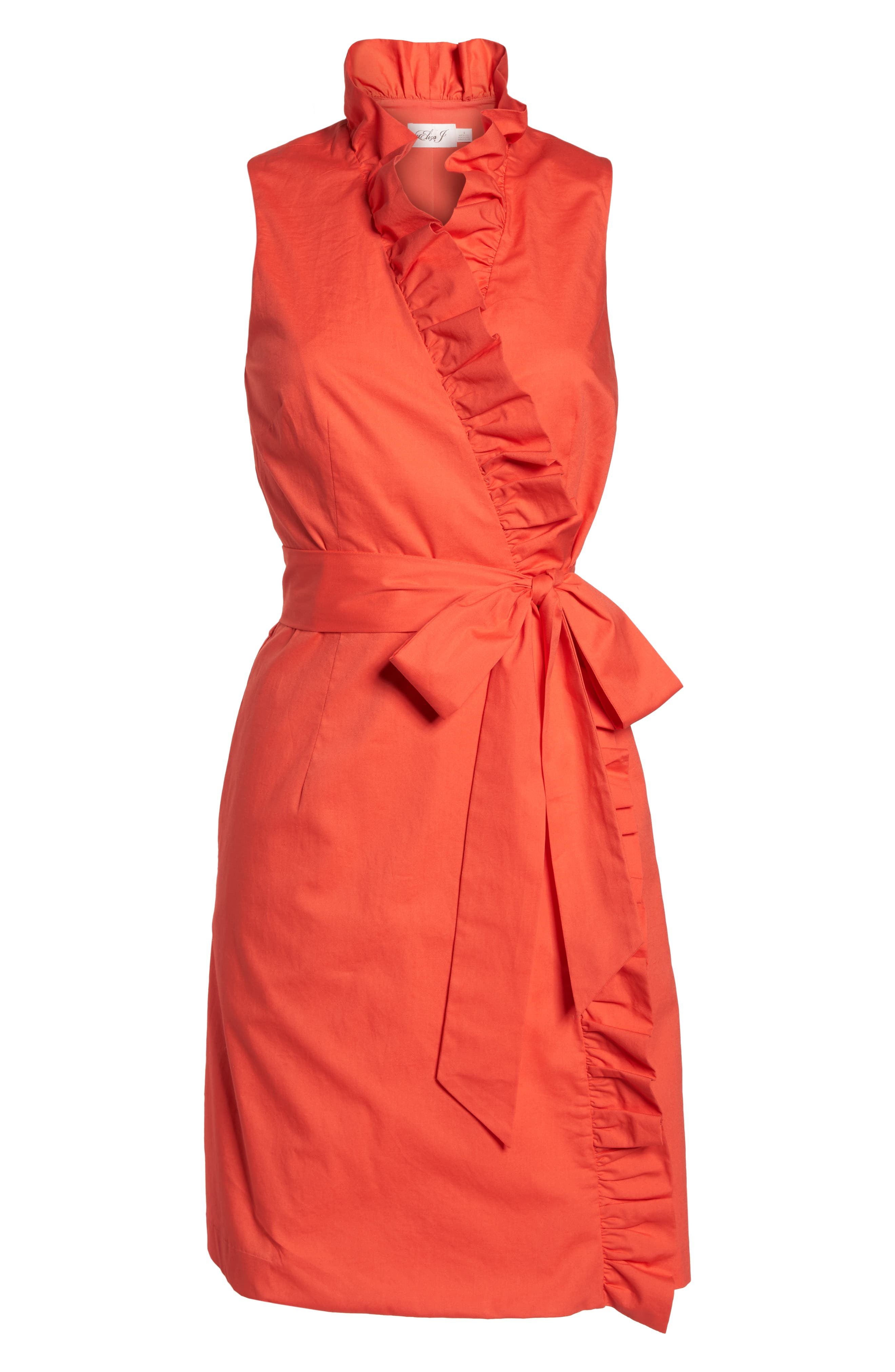 Ruffle Trim Poplin Wrap Dress,                             Alternate thumbnail 7, color,                             Coral