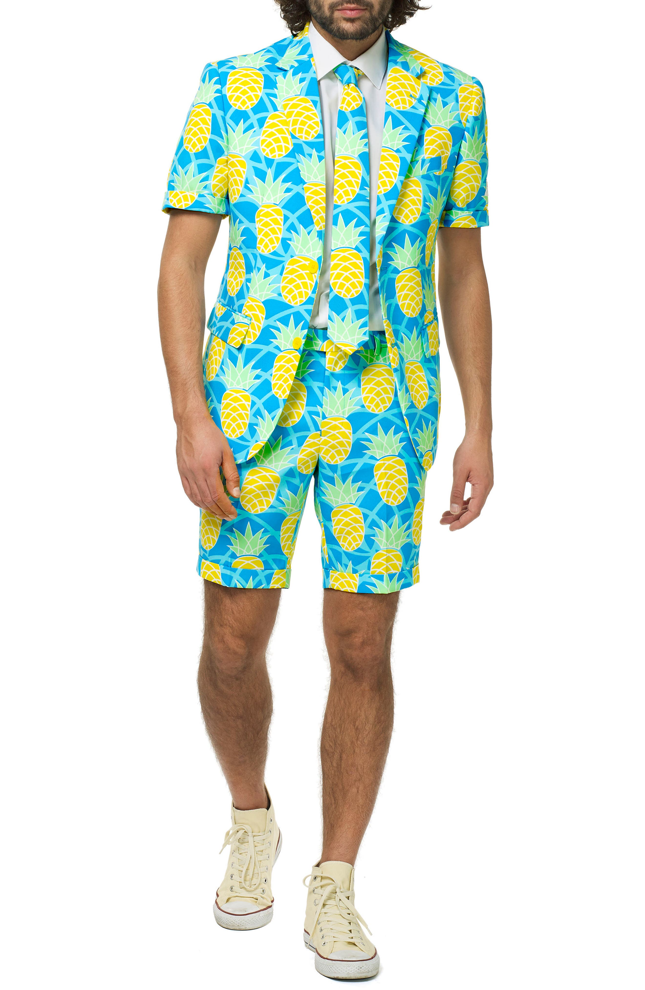 OppoSuits Shineapple Trim Fit Two-Piece Short Suit with Tie