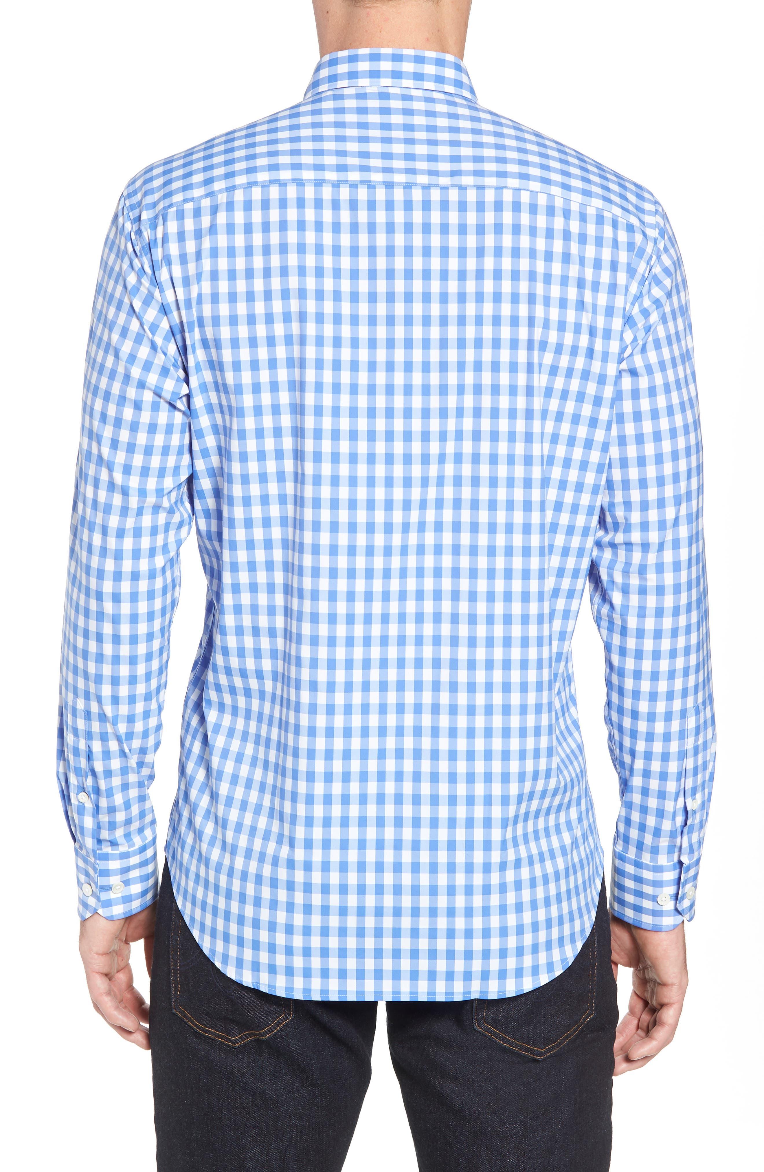 Shaped Fit Gingham Sport Shirt,                             Alternate thumbnail 3, color,                             Classic Blue