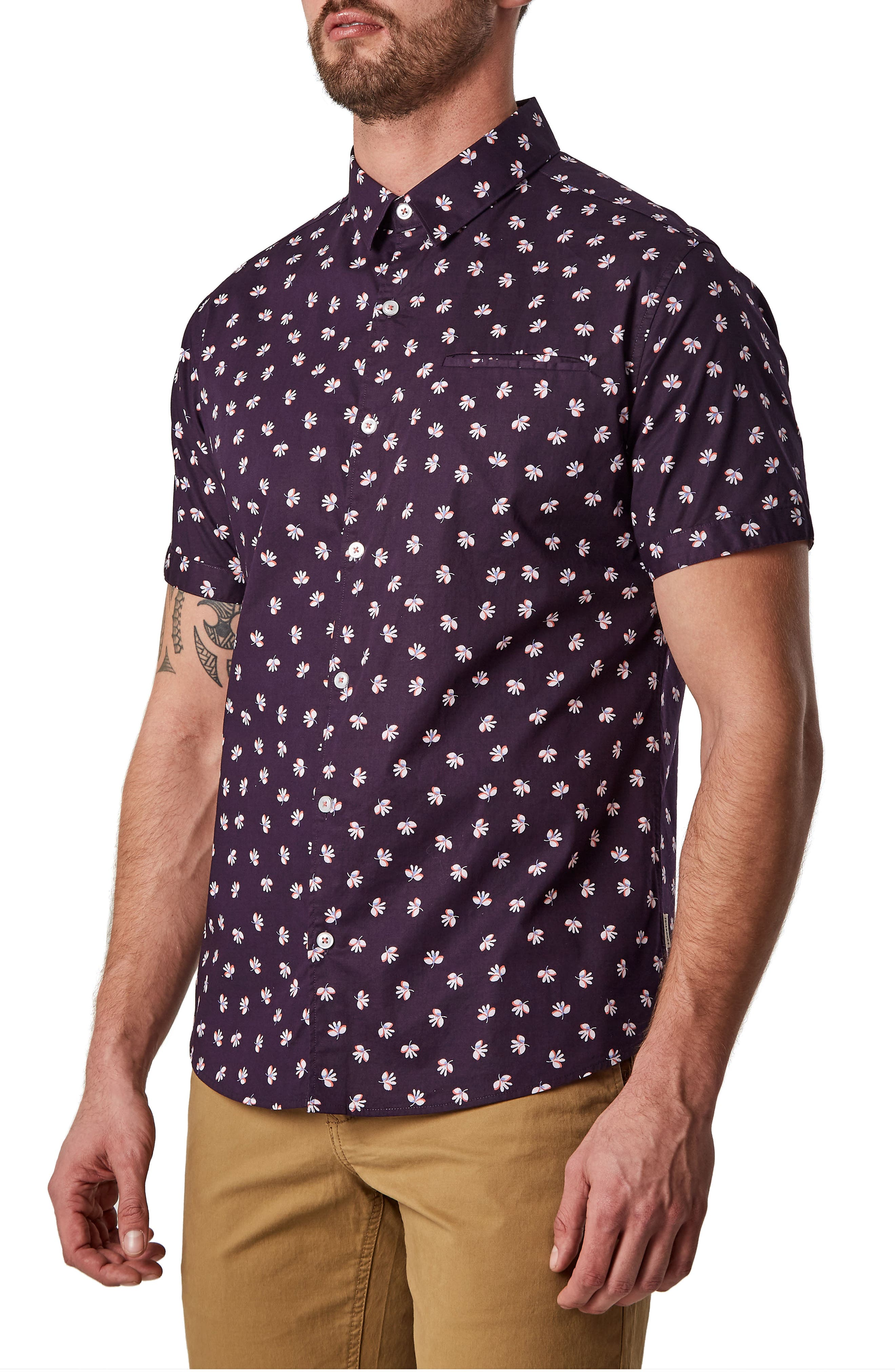 Because the Night Trim Fit Stretch Sport Shirt,                             Alternate thumbnail 3, color,                             Navy