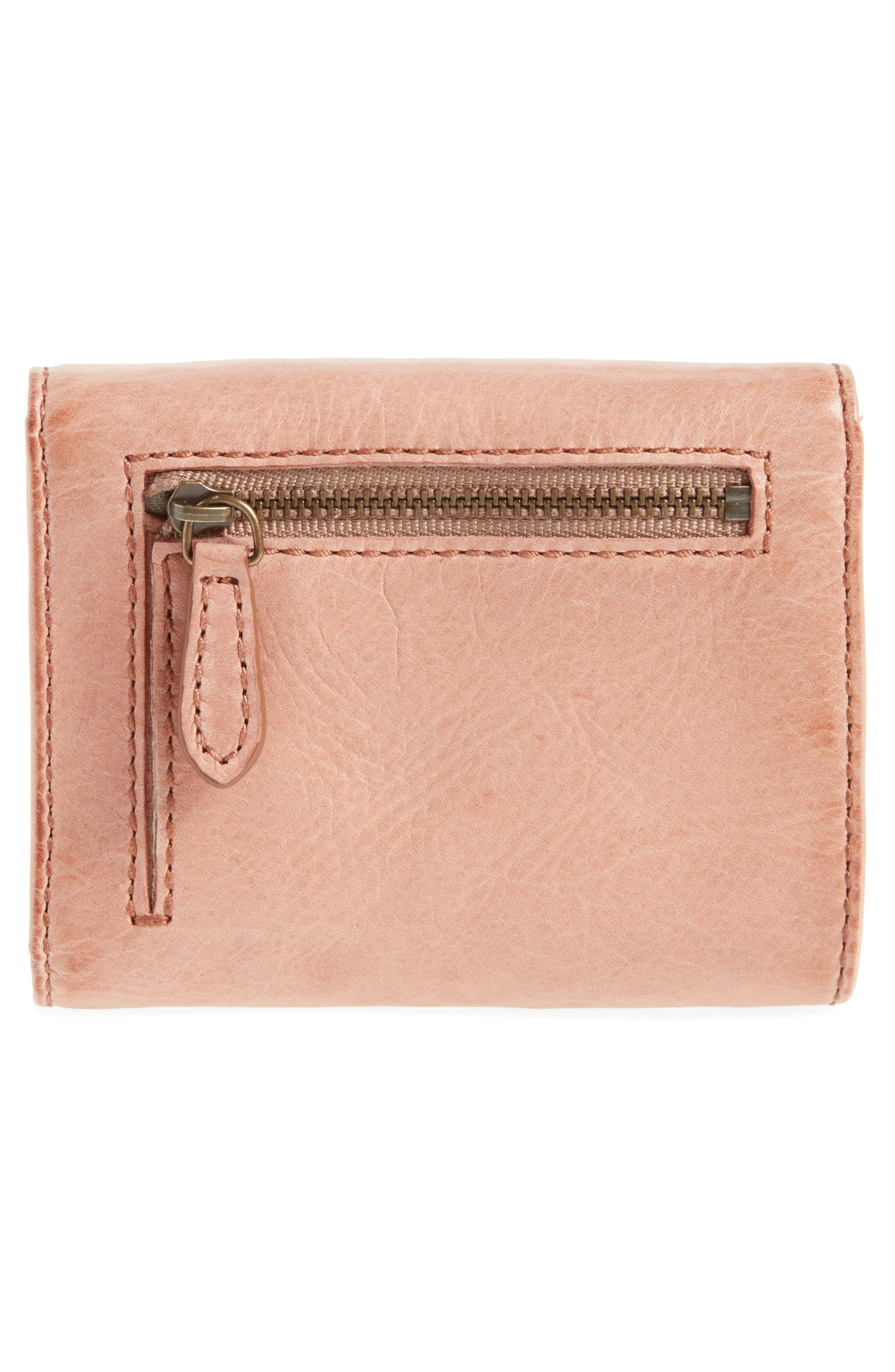 Melissa Medium Trifold Leather Wallet,                             Alternate thumbnail 4, color,                             Dusty Rose