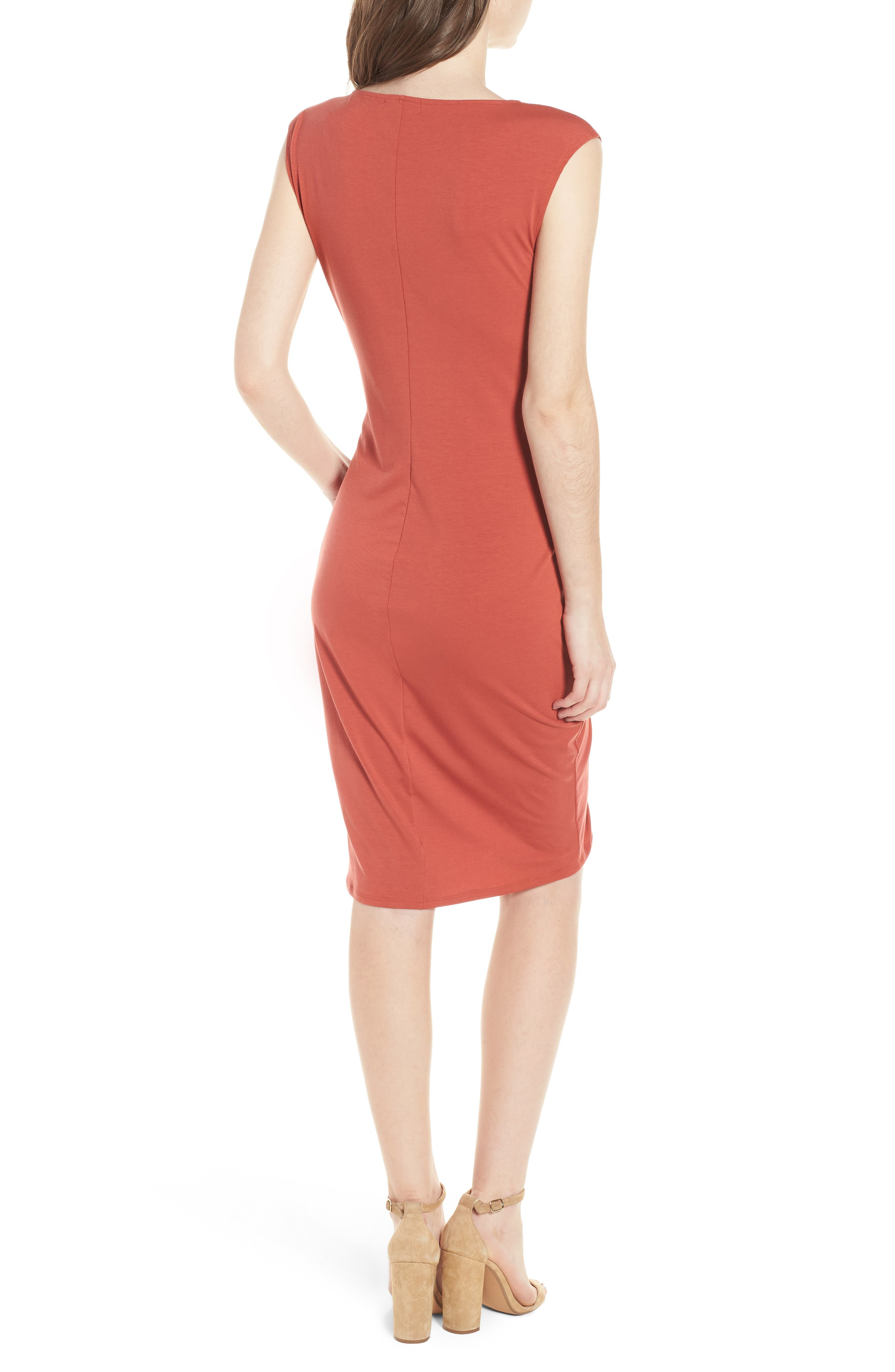 Ruched Knit Dress,                             Alternate thumbnail 2, color,                             Red Sauce